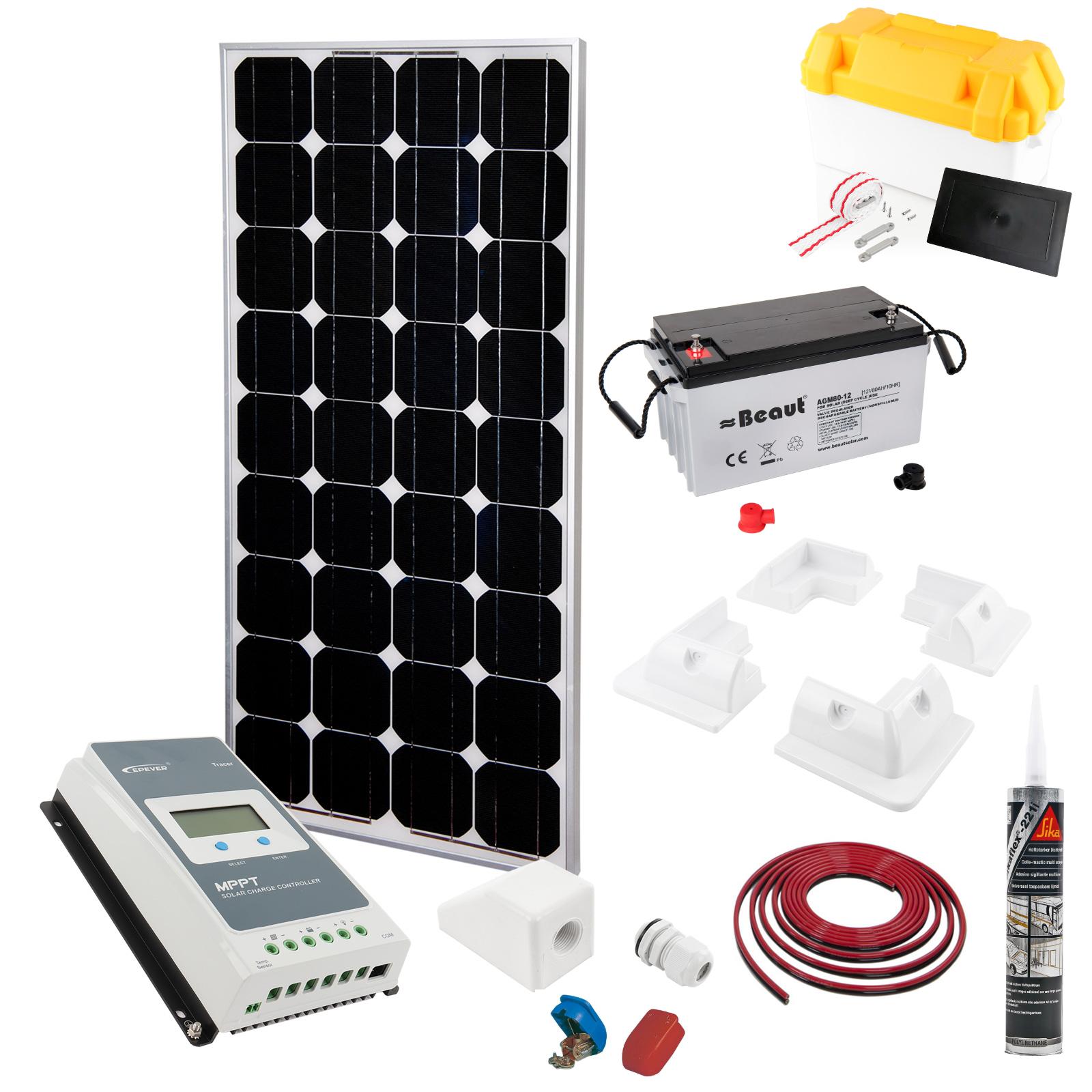 Solar Komplett Set 100W | MPPT Regler | AGM Batterie 100 Ah |Kabel | Sika |