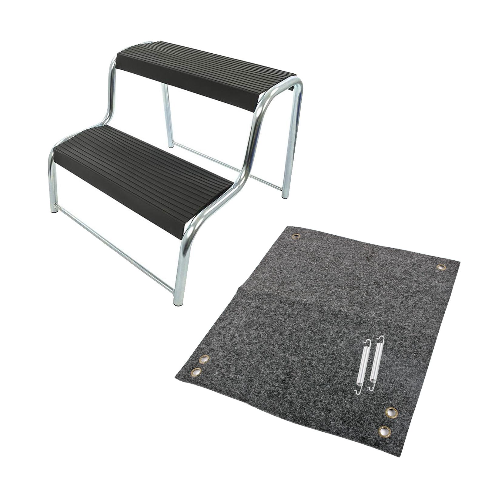 Doppeltrittstufe inkl. passender Fußmatte, Stahl, max. 150kg