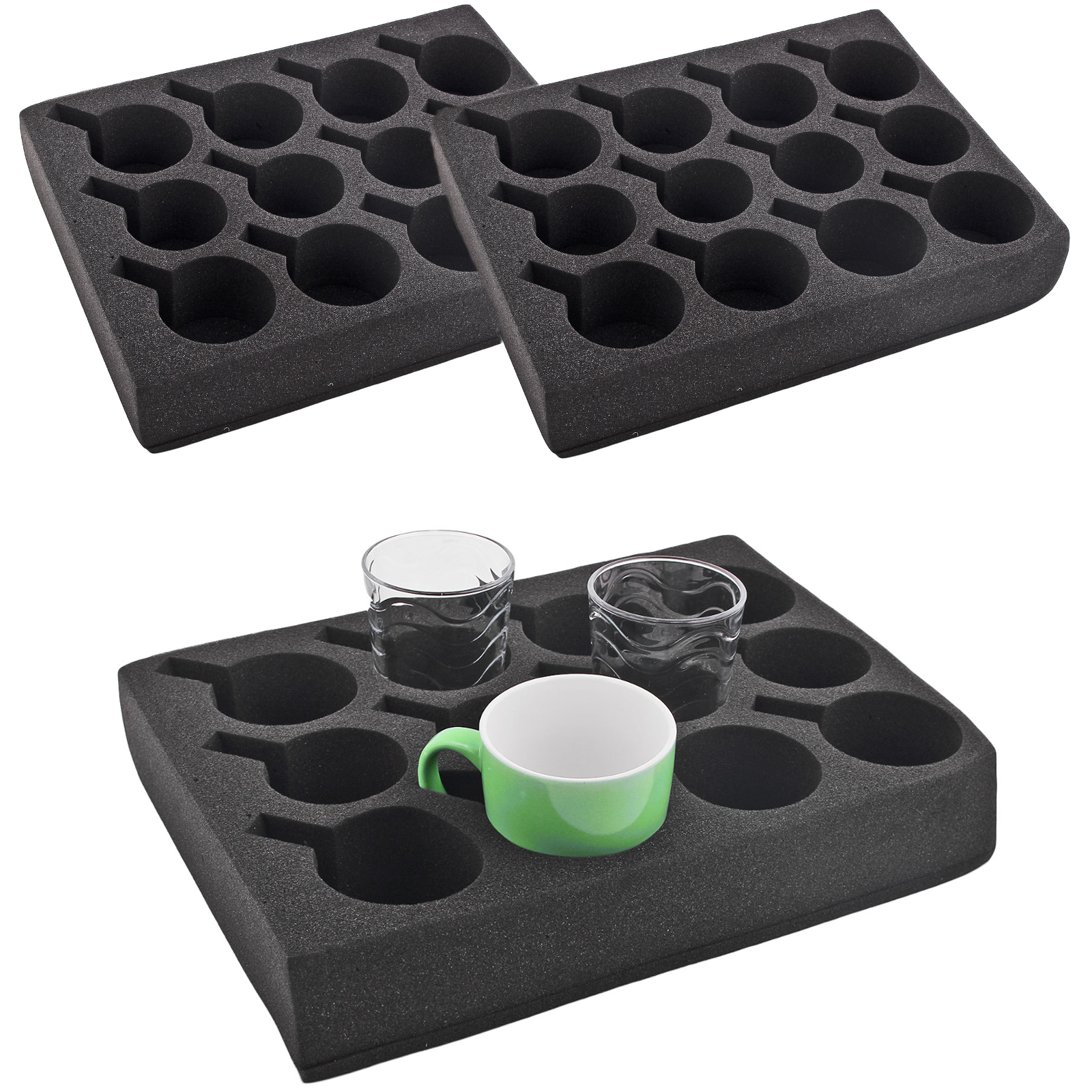 2x cupholders glass holder 12 he black special foam 330 x 245 x 60mm