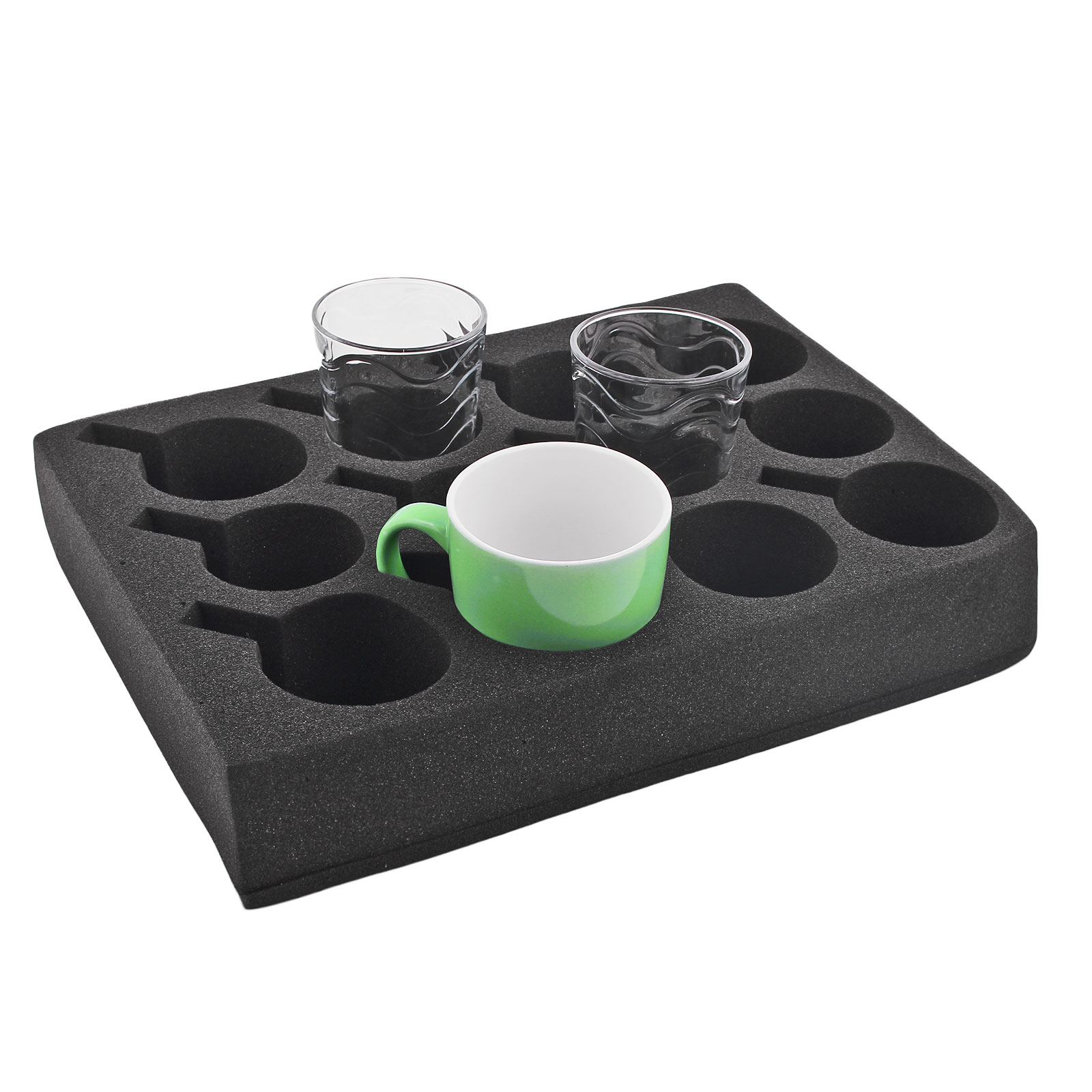 Cupholders glass holder 12 he black special foam 330x245x60 mm