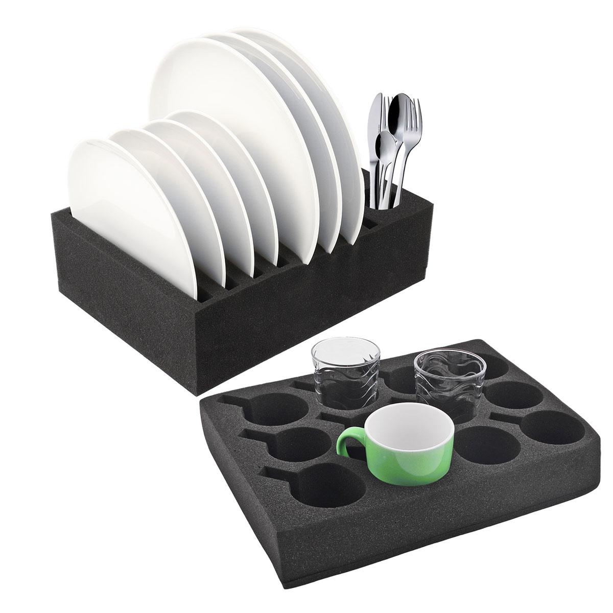 Geschirrhalter | Tassenhalter und Tellerhalter | schwarz | Schaumstoff