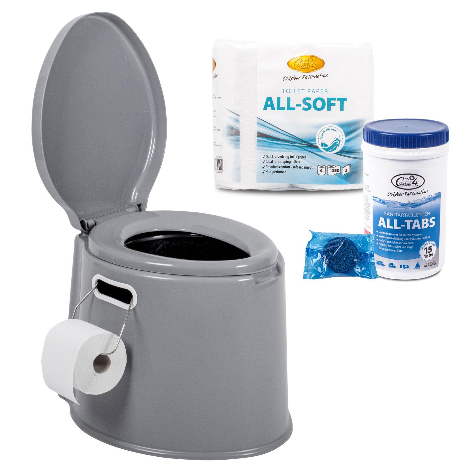 Tragbare Campingtoilette + Camp4 Toilettenpapier, Toilettentabs