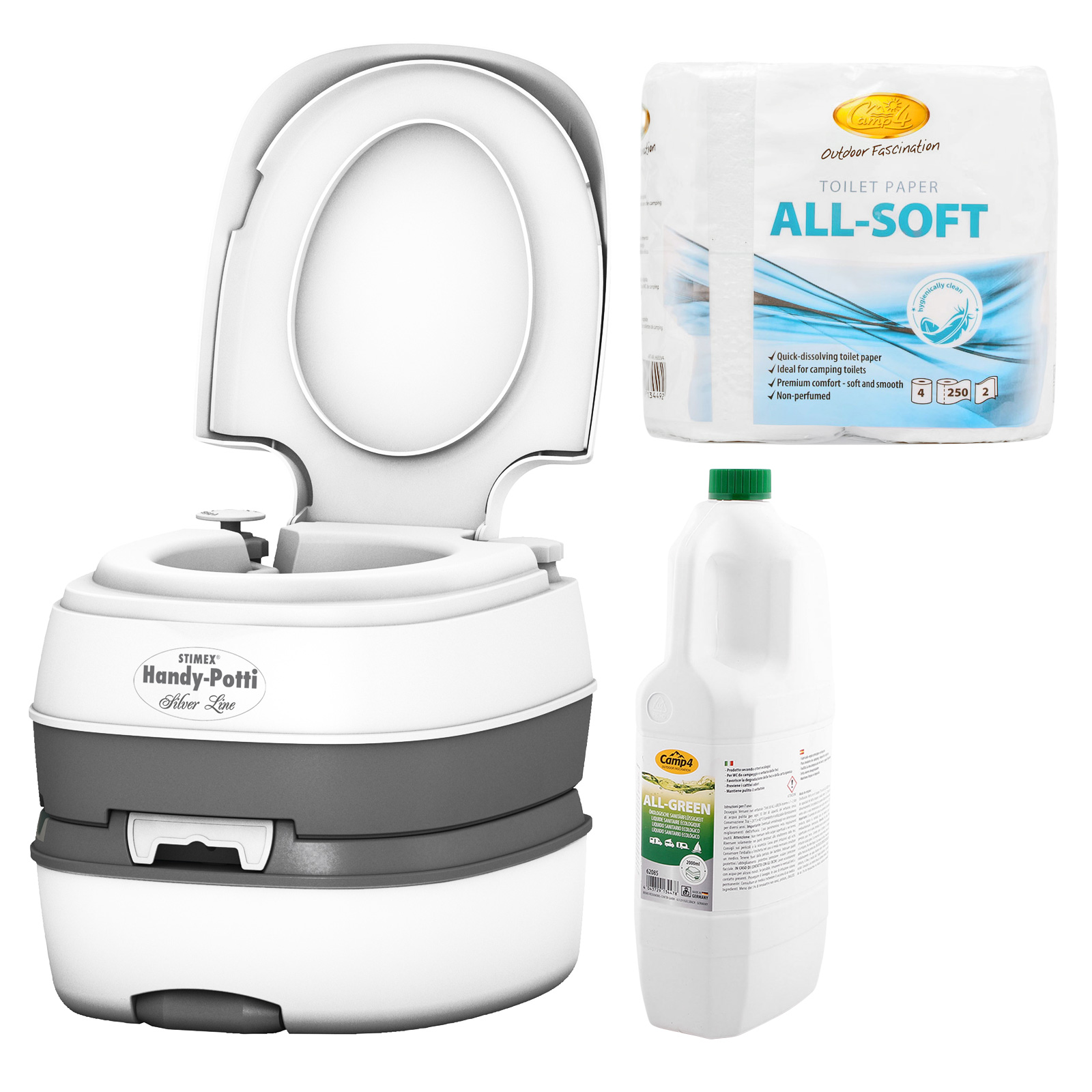 STIMEX Campingtoilette + All Green + All-Soft Toilettenpapier