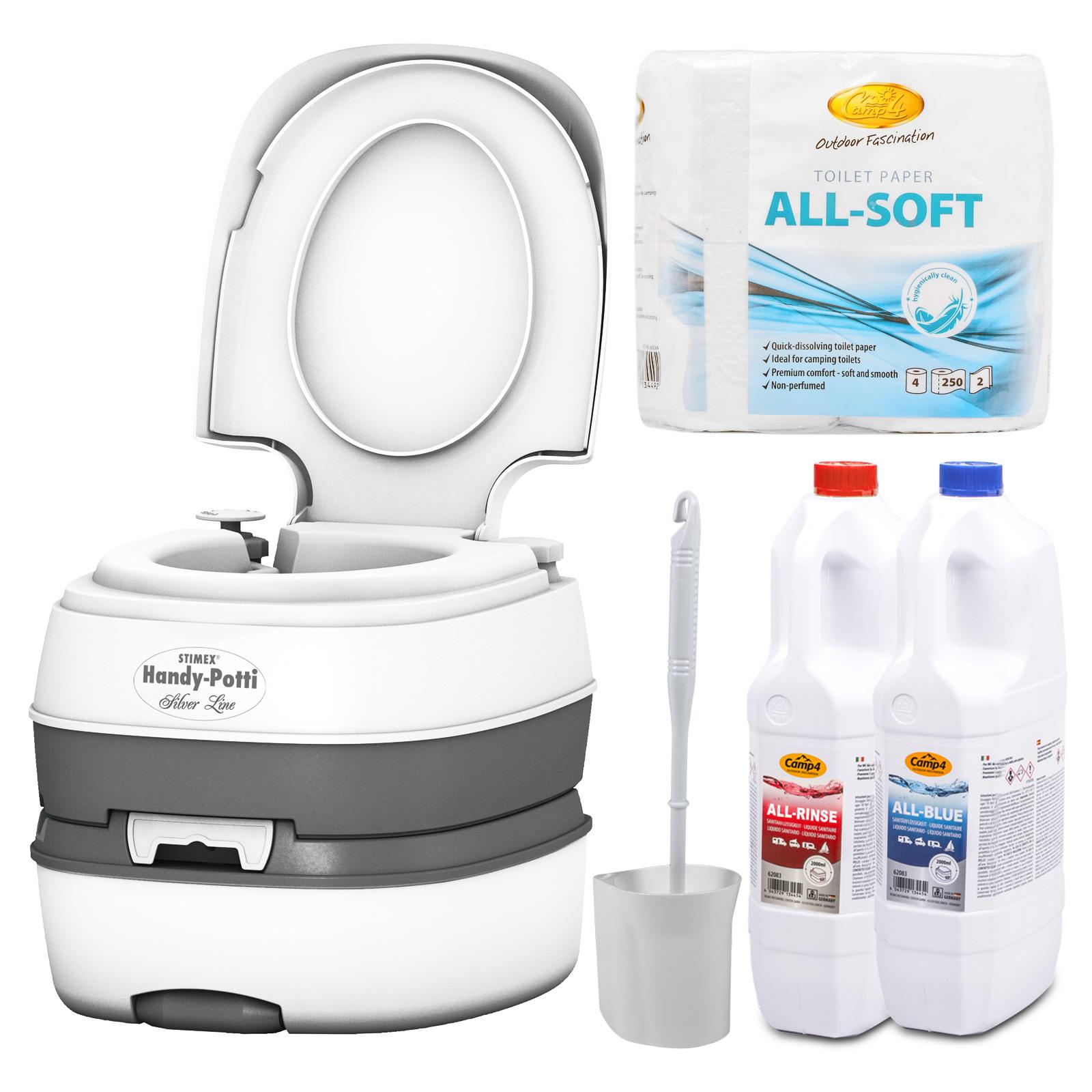 STIMEX Campingtoilette + All-Soft + All Rinse + All Blue + Toilettenbürste