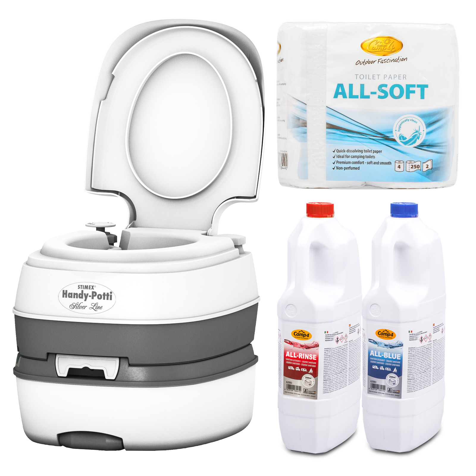 STIMEX Campingtoilette + All-Soft + All Rinse + All Blue