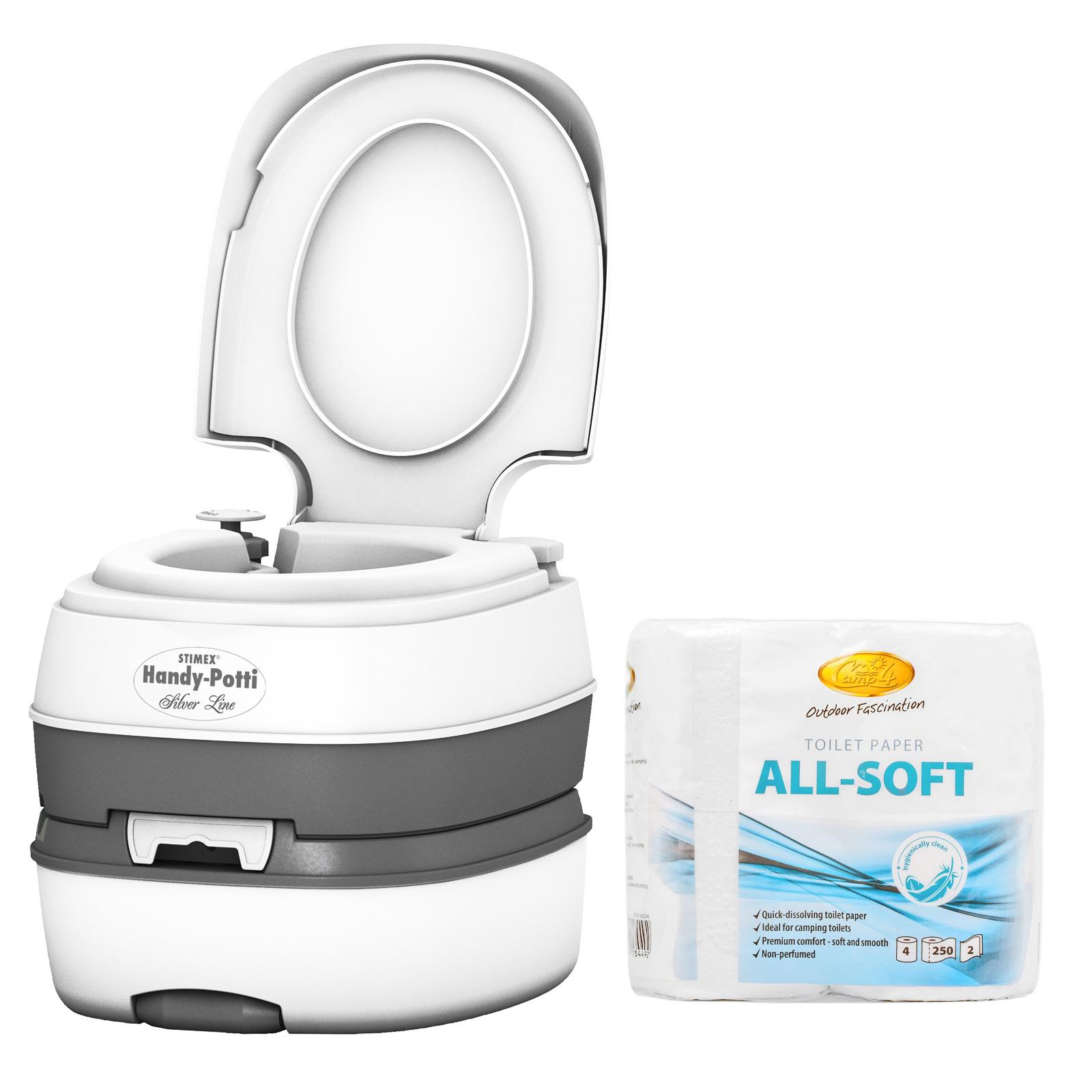 STIMEX Campingtoilette, Kunststoff, Kolbenpumpe, 3,8 kg, weiß inkl. All-Soft