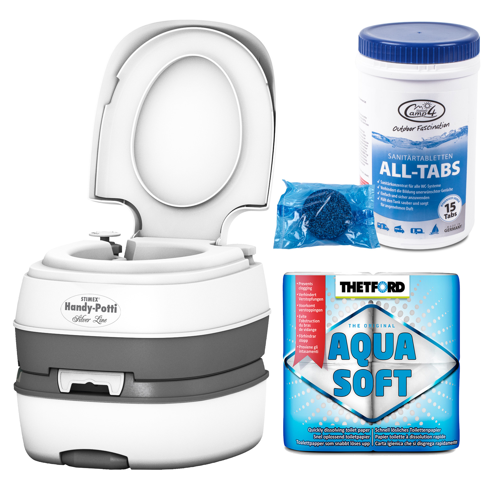 STIMEX Campingtoilette, Kunststoff, Kolbenpumpe + Tabs & Aquasoft
