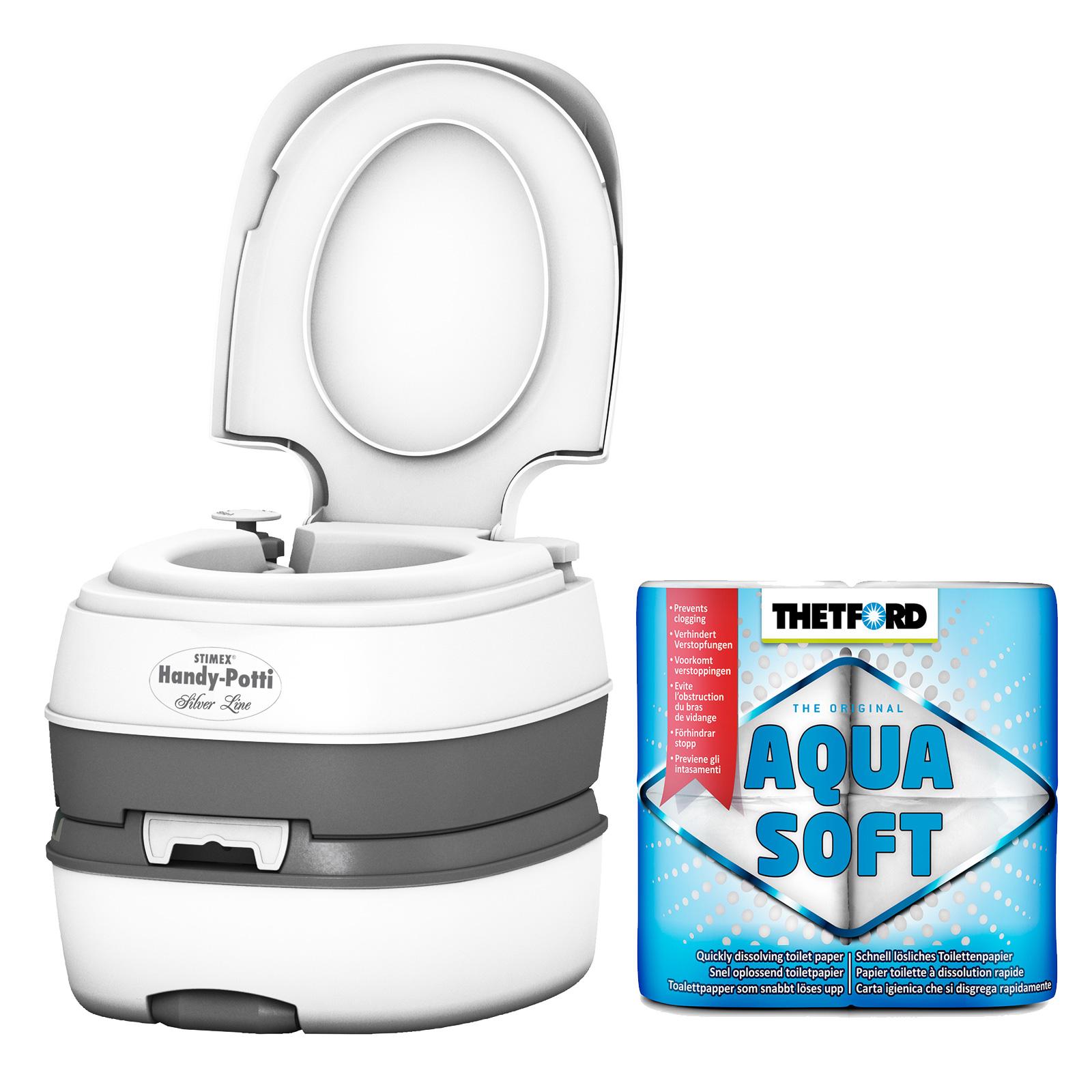 STIMEX Campingtoilette, Kunststoff, Kolbenpumpe, 3,8 kg, weiß inkl. Aqua Soft