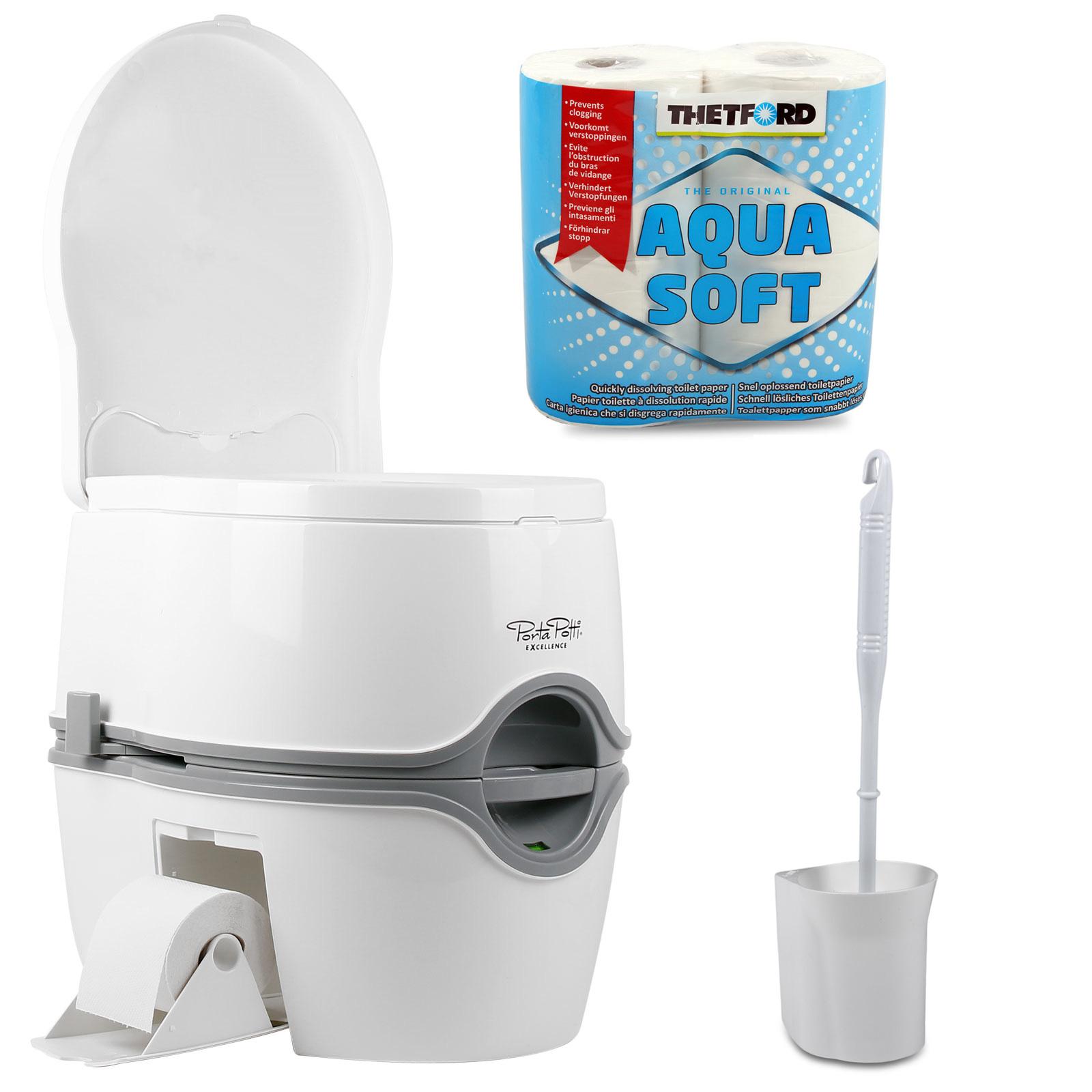 Porta Potti Excellence + Chemie + Fiamma Toilettenbürste + Aquasoft