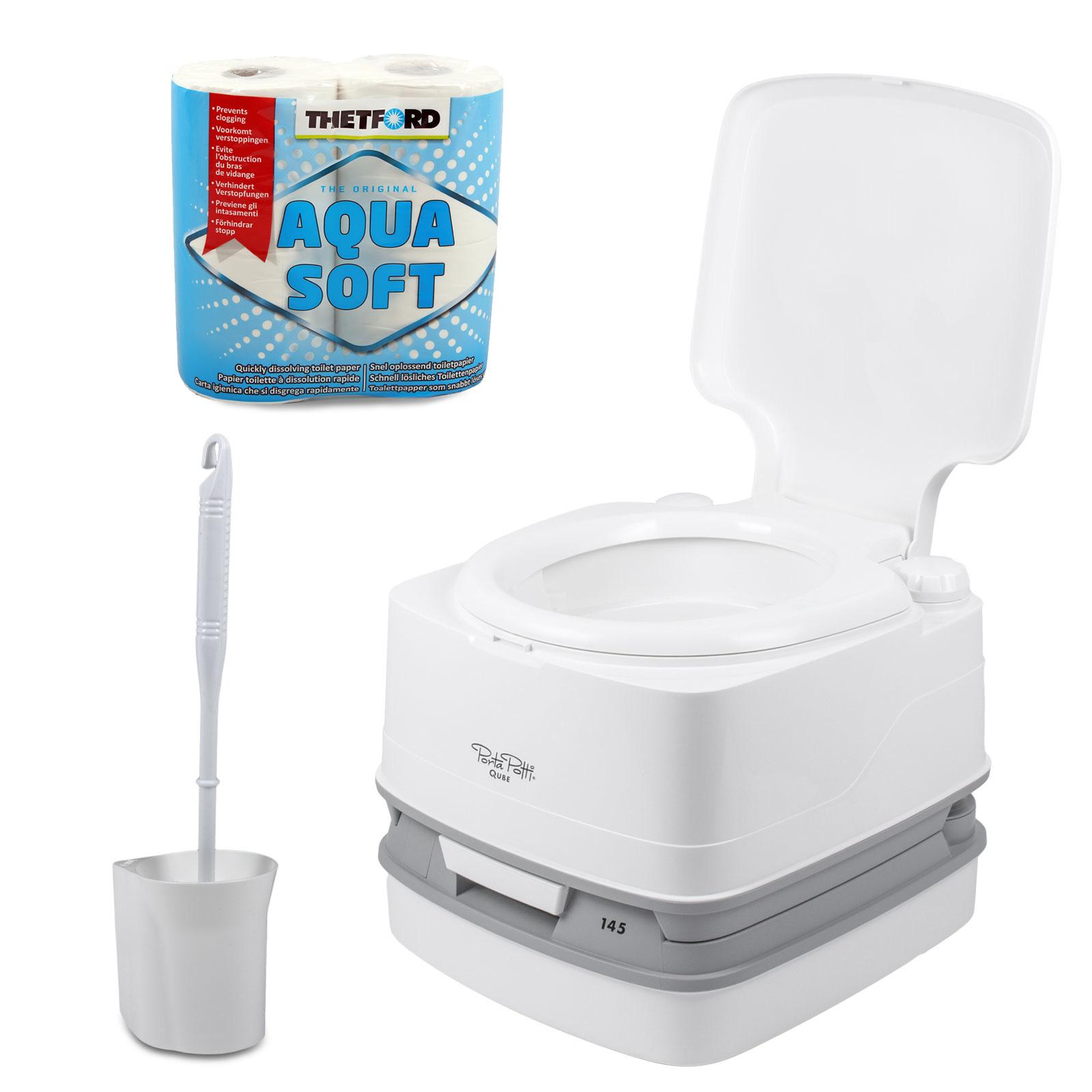 Porta Potti Qube 145 + Chemie + Fiamma Toilettenbürste + Aquasoft