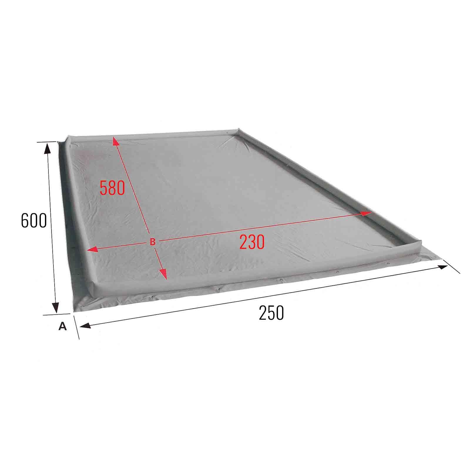 bodenplane grau 250 x 600 wasser schutz r nder. Black Bedroom Furniture Sets. Home Design Ideas