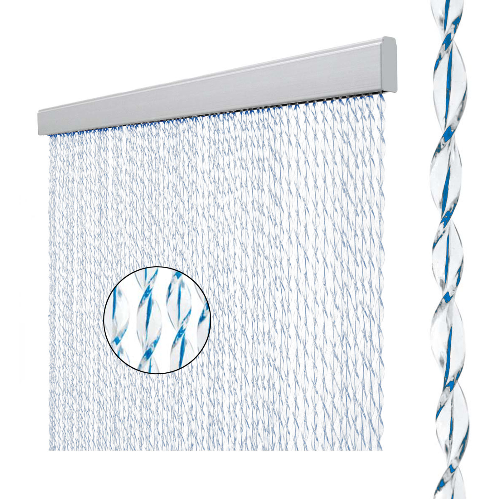 Vorhang Sara, 100% PVC, 60x190 cm, weiß/blau
