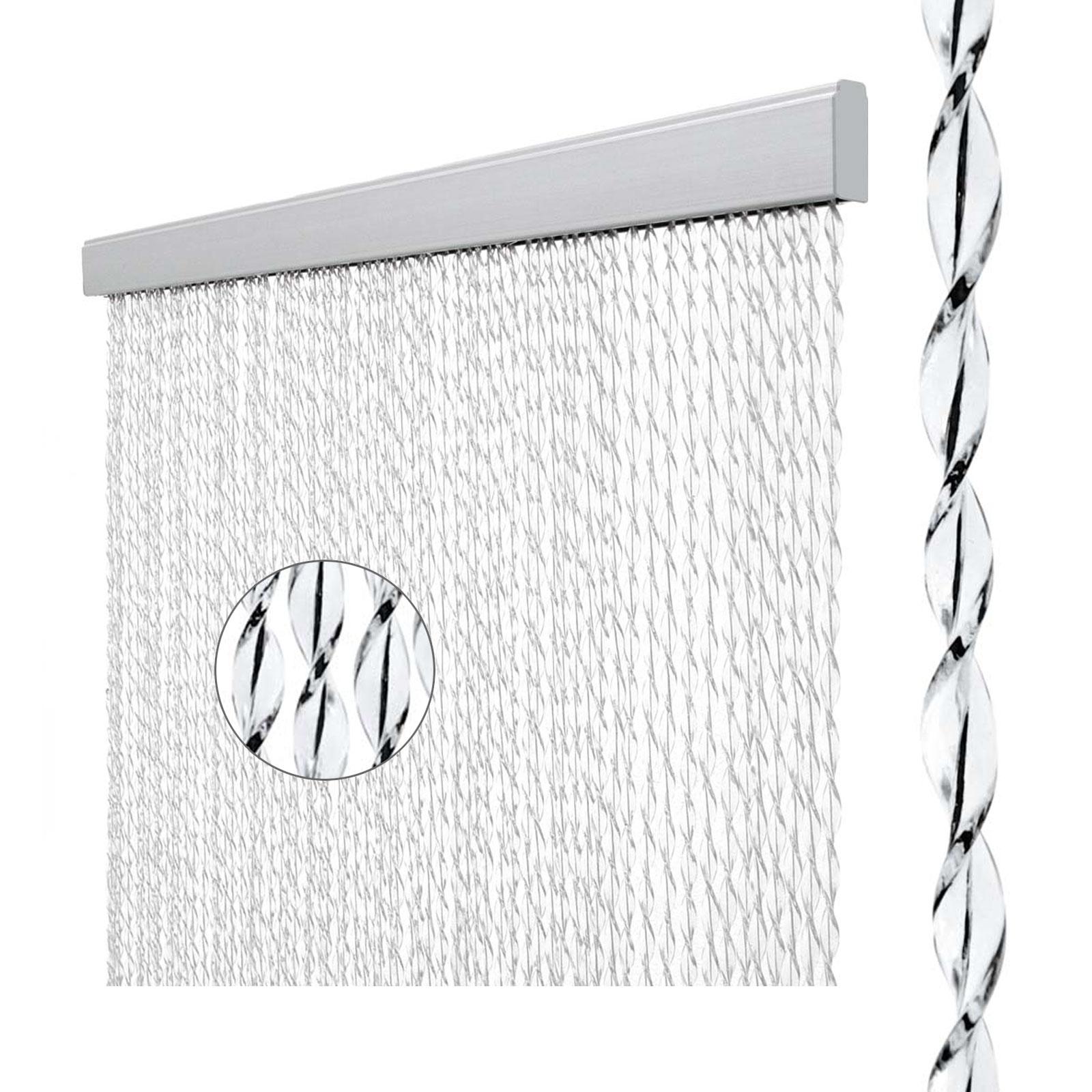 Vorhang Sara, 100% PVC, 60x190 cm, weiß/schwarz
