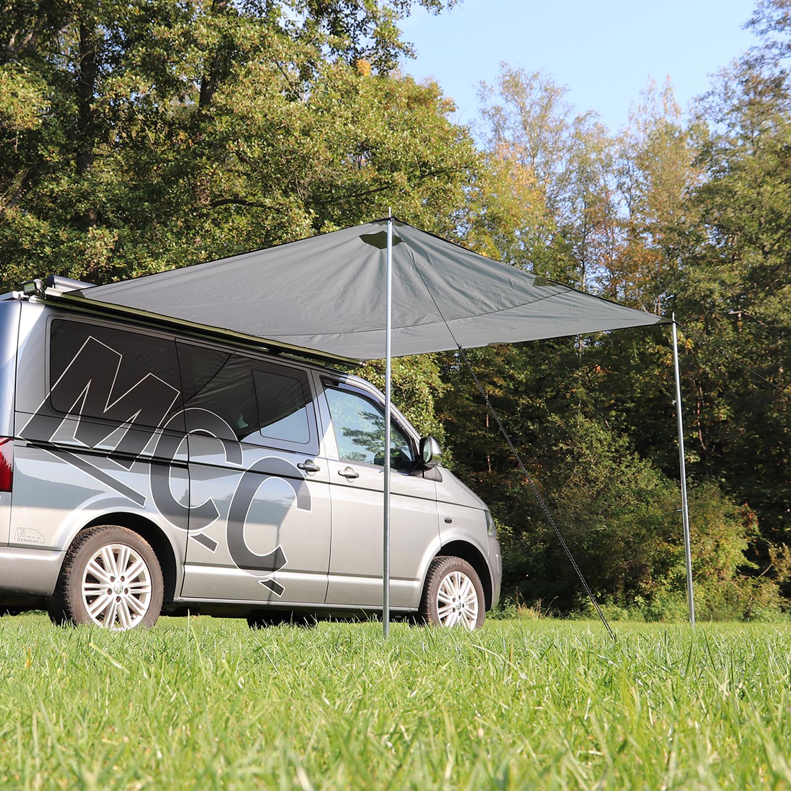 deiwo® Premium Bus Sonnendach Sonnensegel grau 250 x 240 cm