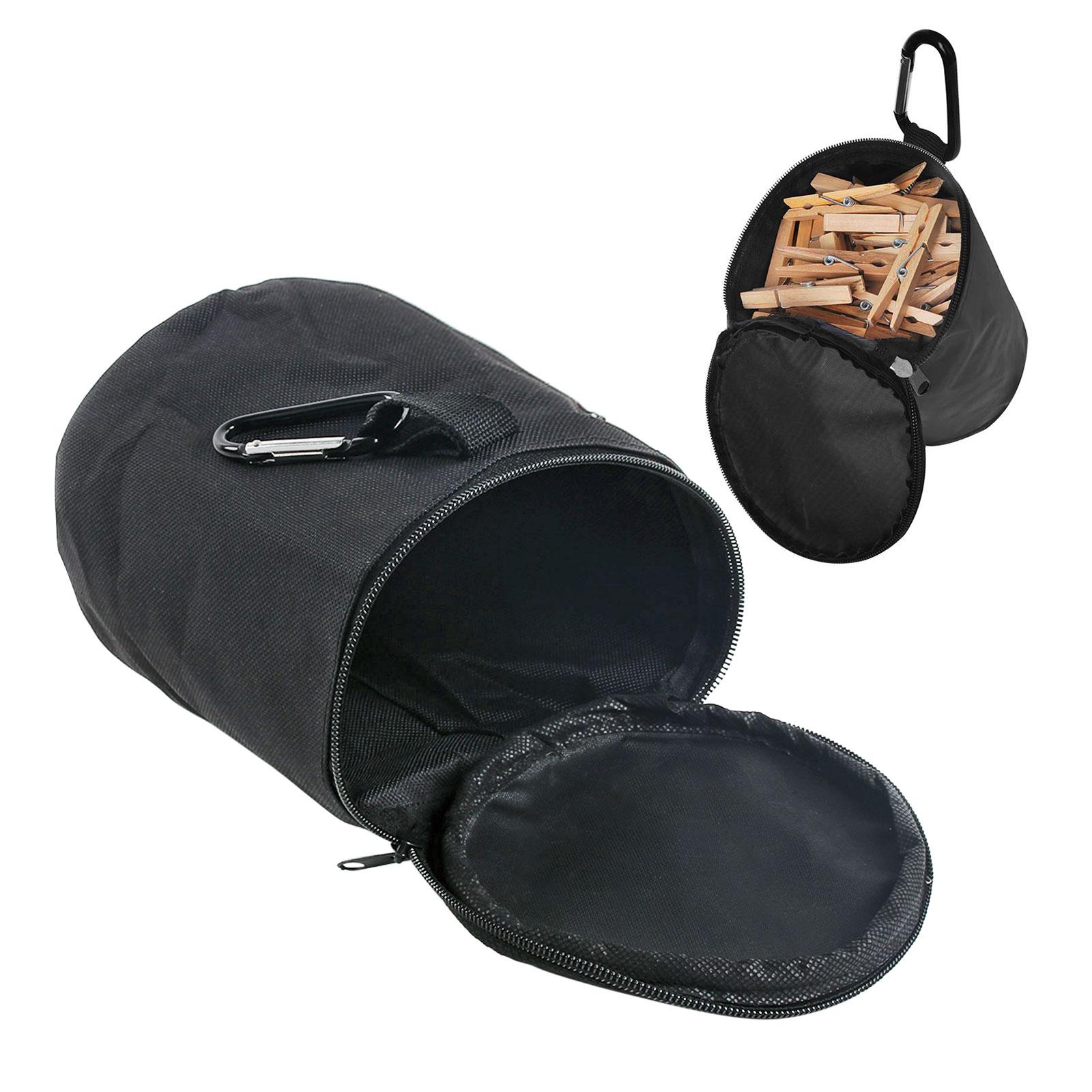 Camping Wäscheklammerbeutel schwarz mit Karabiner verschließbar Nylongewebe