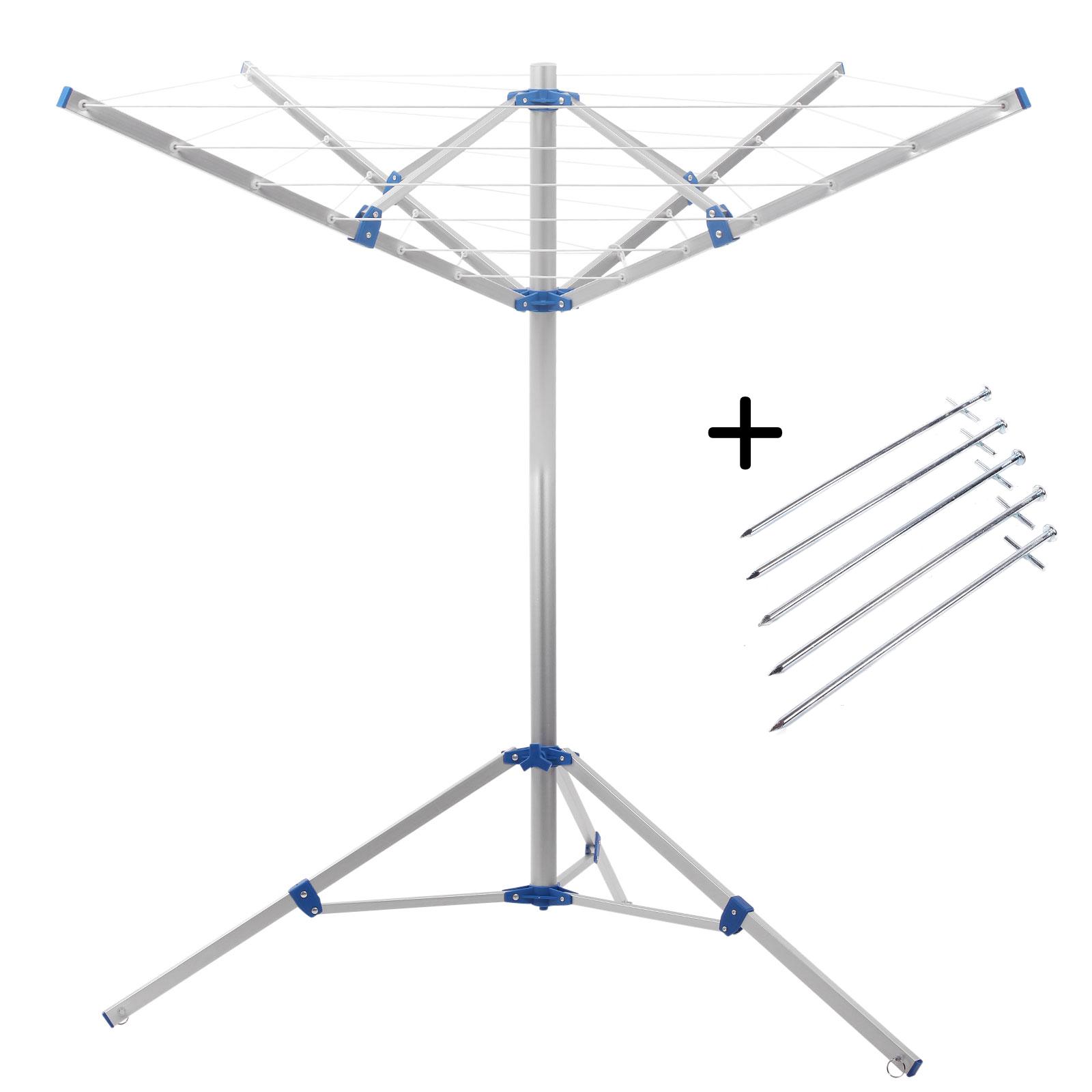 Camping Wäschespinne 15 Meter Leine, Spannweite 152 cm , Höhe 180 cm + Heringe