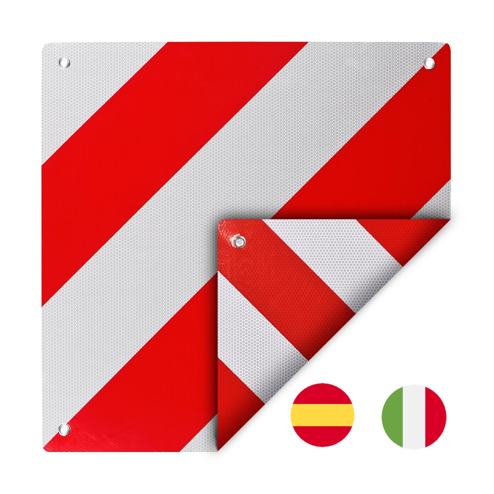 Warntafel zum wenden für Italien/Spanien Aluminium 50 x 50 cm Ösen