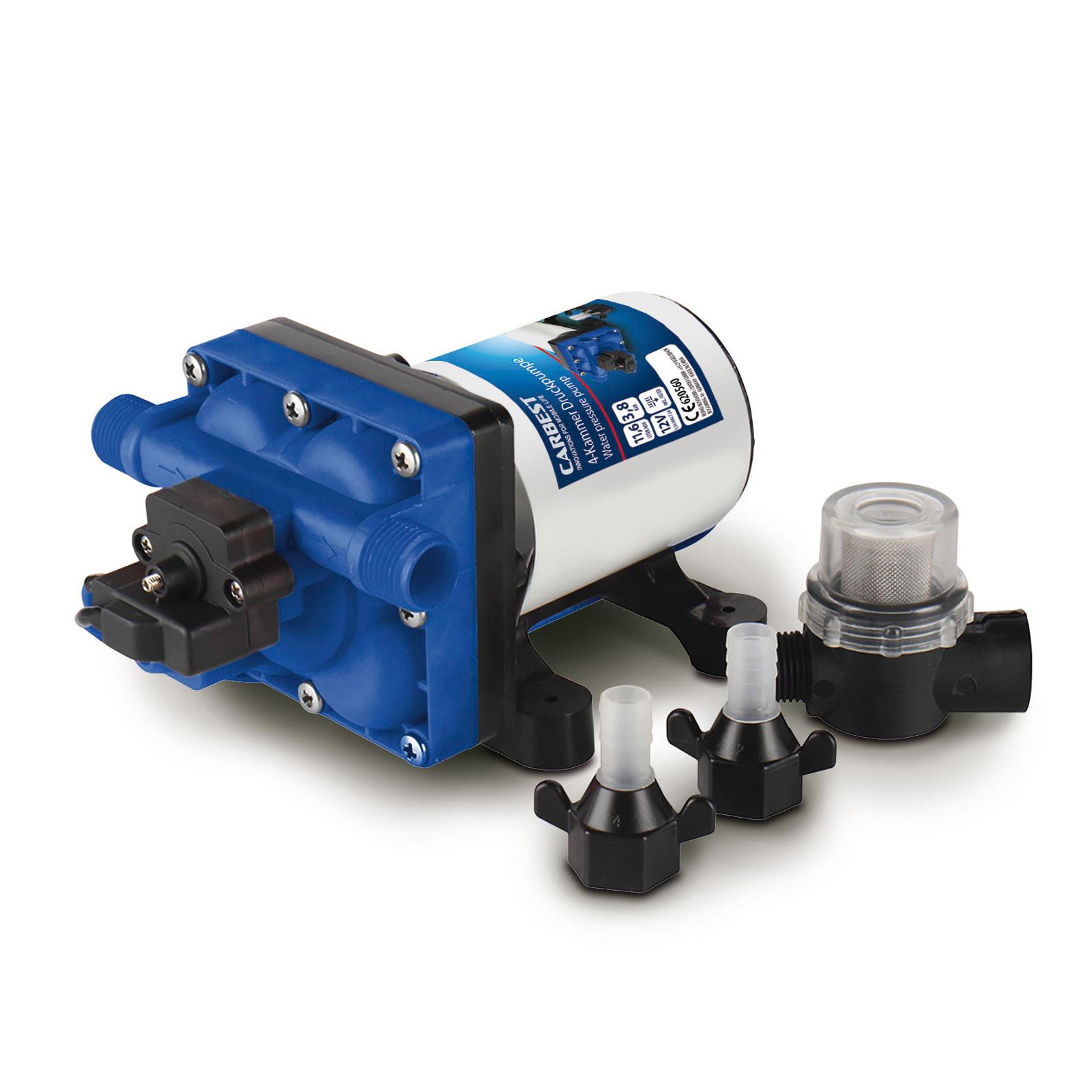 4-Kammer-Druckwasserpumpe 12 V - 3,5 A (max. 7,5 A), 55PSI 3.8 bar