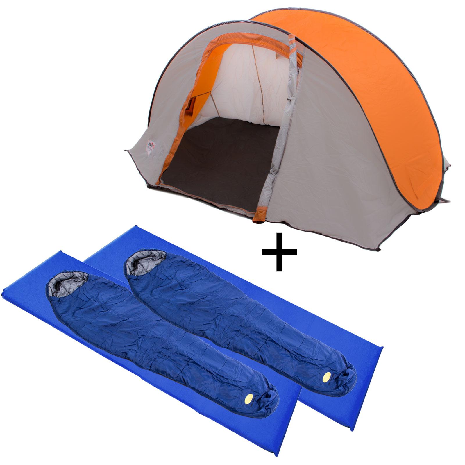 2 Personen Wurfzelt / 2x Camp 4 Mumienschlafsack / 2x Camp 4 Isomatte