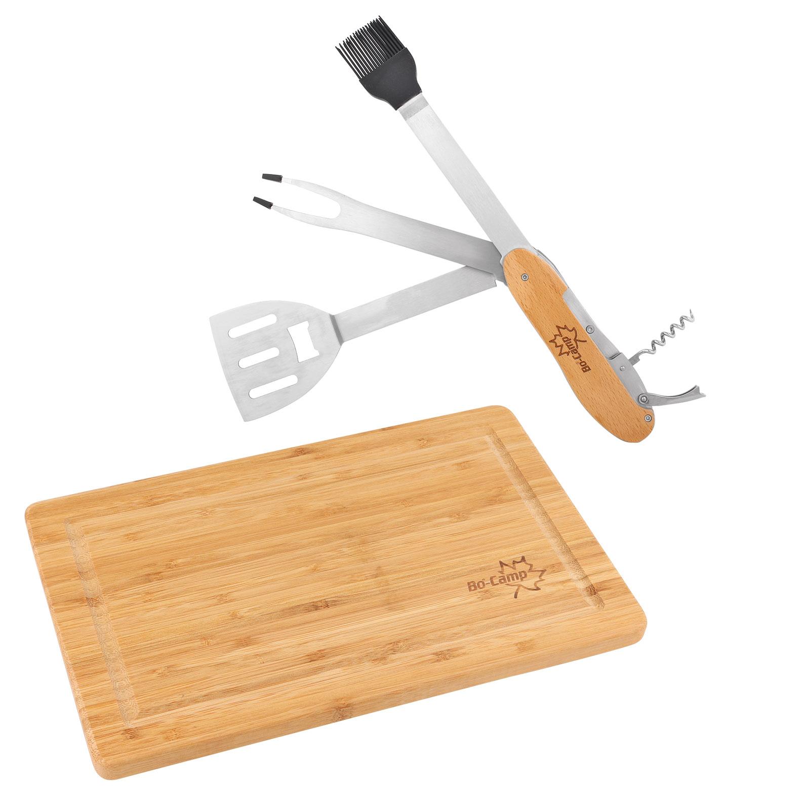 Bambus Schneidebrett inkl. Grillwerkzeug Bo-Camp Special-Set