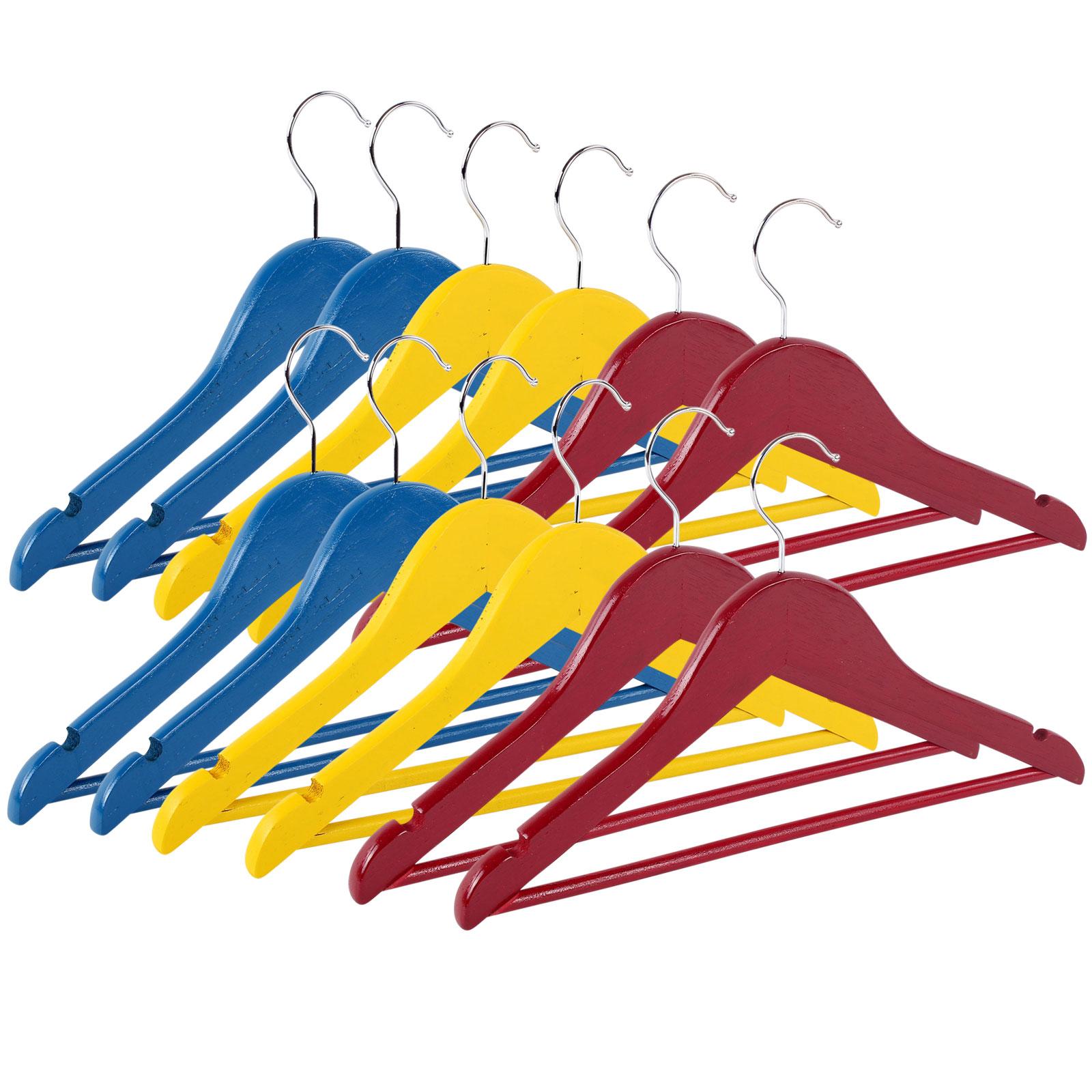 Kinderkleiderbügel aus Holz Set 12tlg, 12 bunte Farben rot/gelb/blau 35 cm