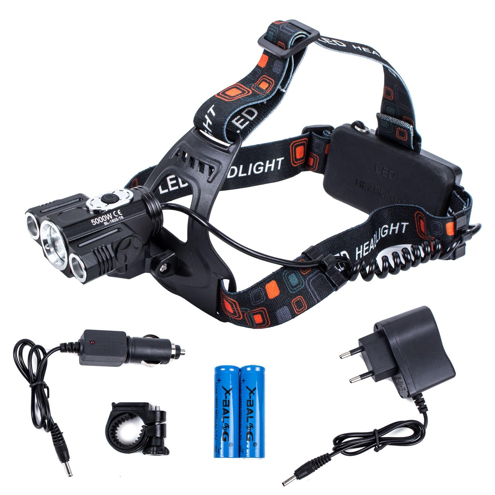 T6 LED Kopflampe + KFZ Ladegerät + Netzteil + Akkus + Lenkeradapter