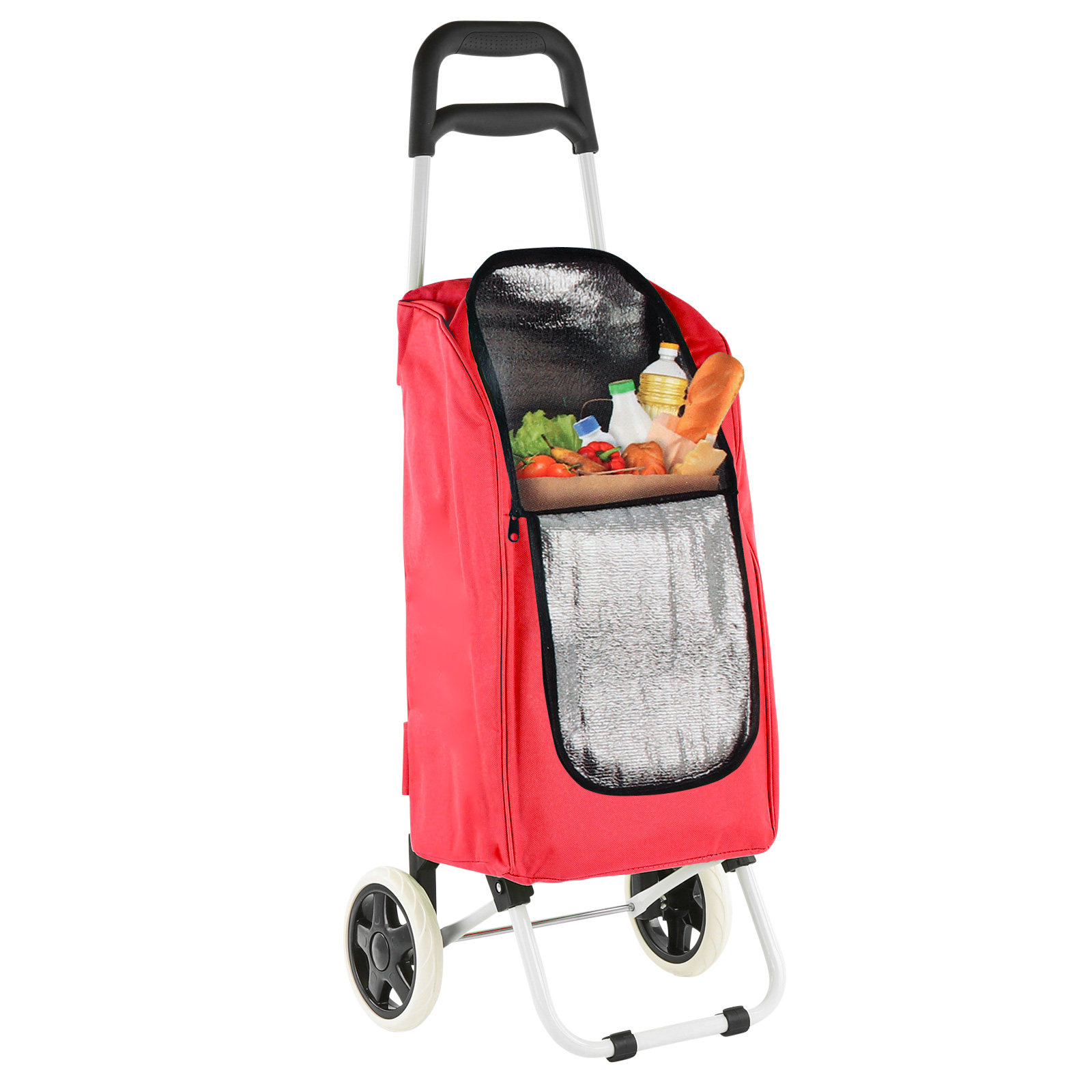 Trolley Rot Einkaufstrolley Kühltasche 90x34,5x29cm 25Ltr klappbar