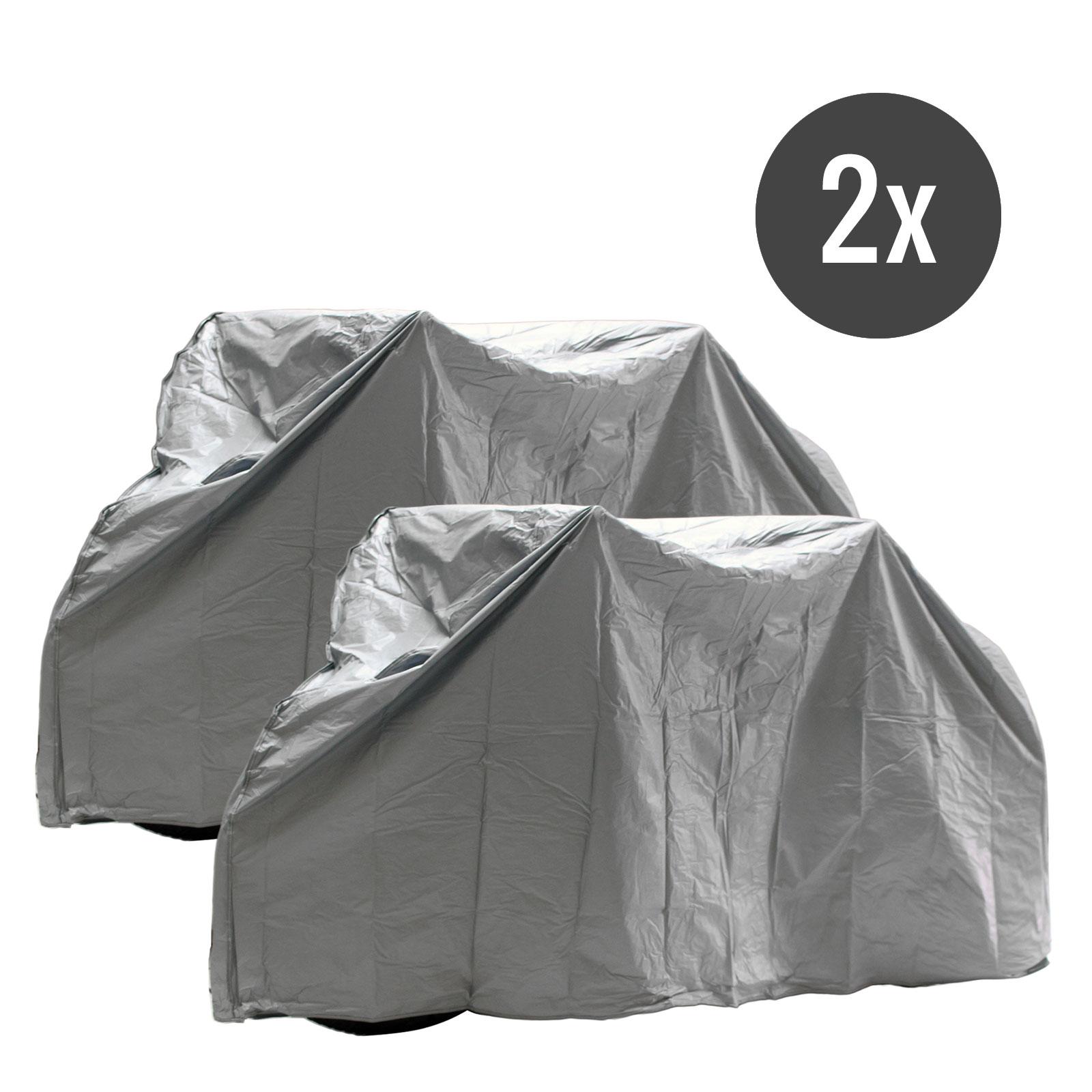 2x Fahrradabdeckplane grau für 1 Bike wasserdicht mit Klett