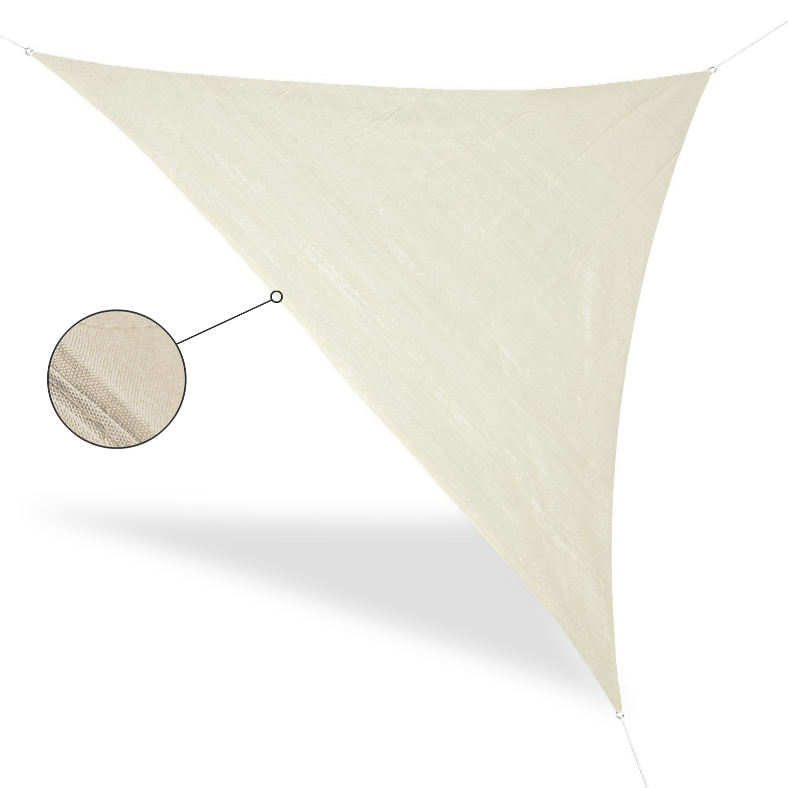 Awning Triangle Beige 5 x 5 x 5 m, metal rings, guy ropes