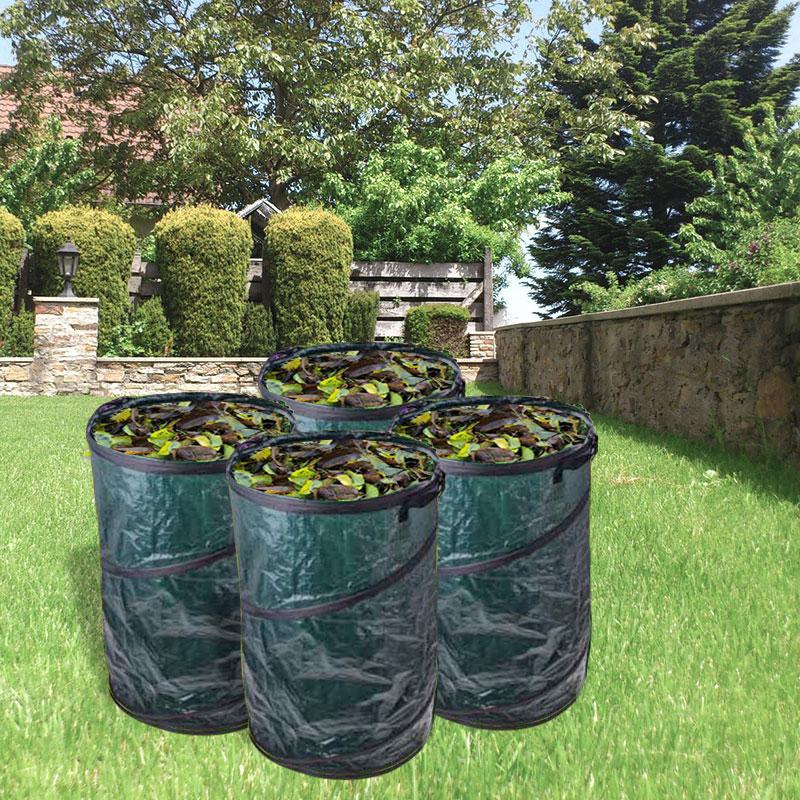 4x Gartenabfallsack 120 Liter Pop Up, grün, Tragegriffe, Ø 450x750 mm
