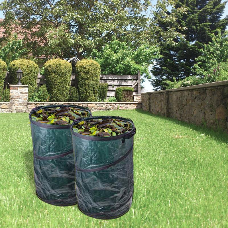 2x Gartenabfallsack 120 Liter Pop Up, grün, Tragegriffe, Ø 450x750 mm