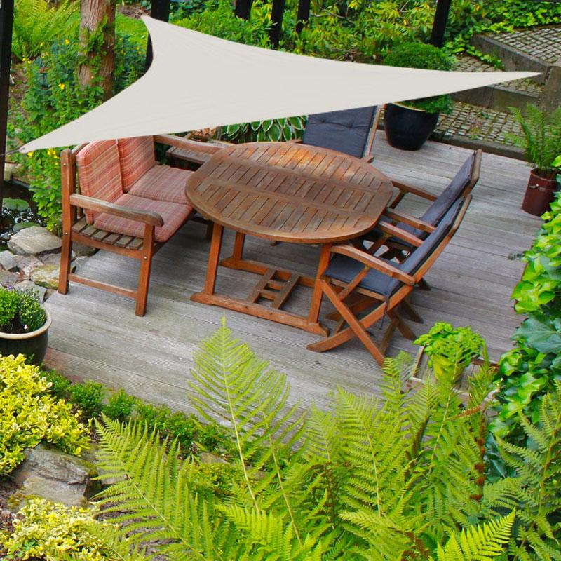 sonnensegel dreieck beige 5 x 5 x 5 m metallringe abspannleinen. Black Bedroom Furniture Sets. Home Design Ideas