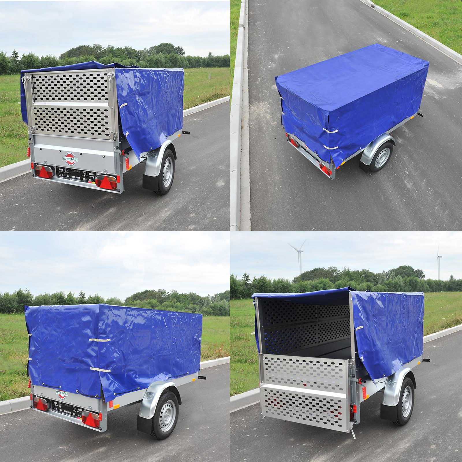 pkw anh nger hochplane blau mit gummigurt 2090x1140x880 mm neu ovp ebay. Black Bedroom Furniture Sets. Home Design Ideas