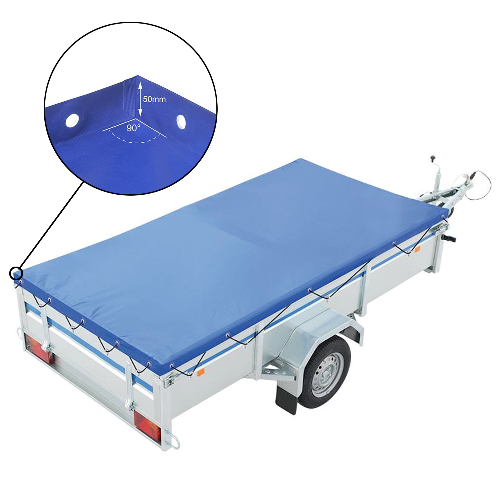 Trailer flat tarpaulin blue with rubber belt 2075x1140x50mm