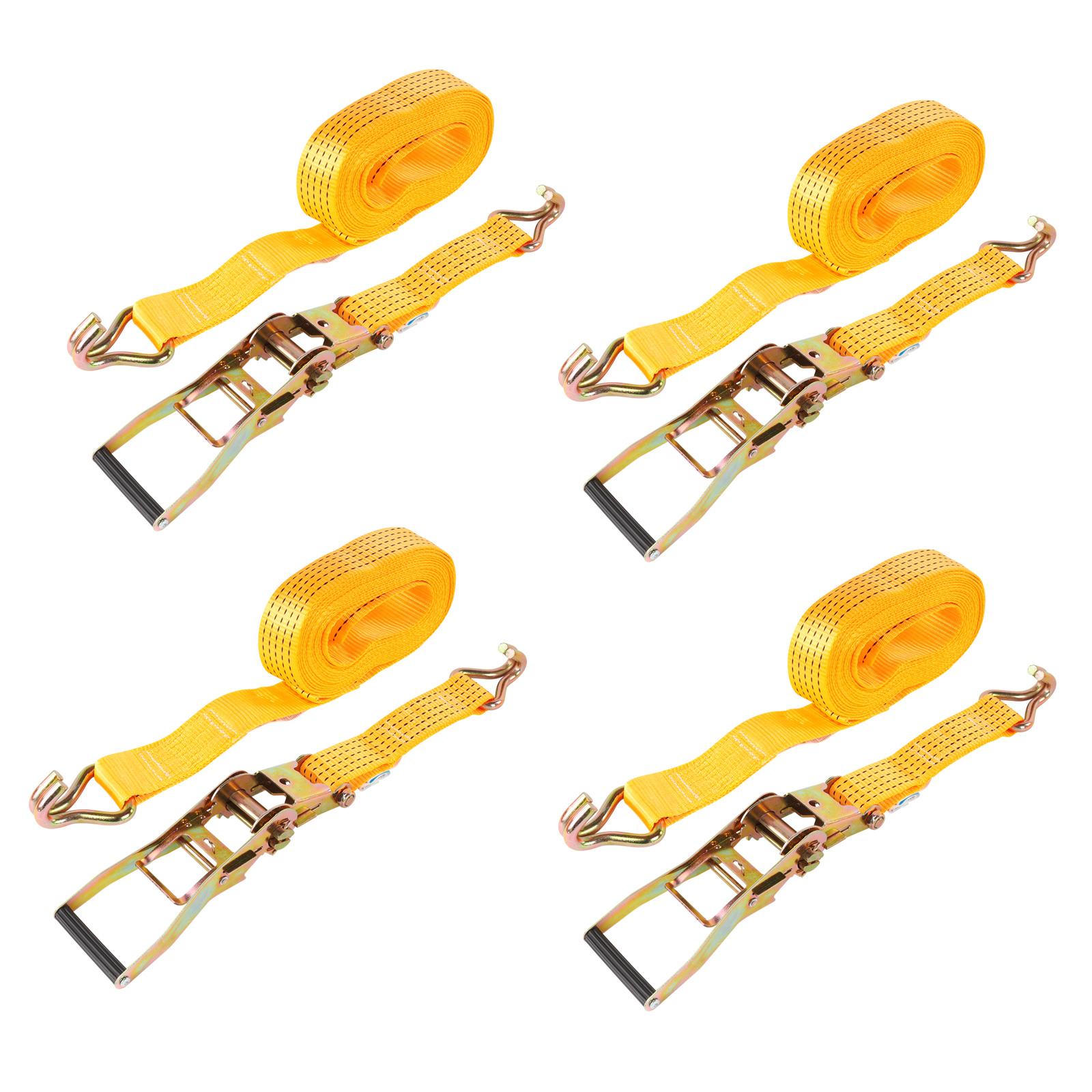 4x Spanngurt mit Ratsche Doppelhaken 8 Meter 5000Kg 50mm Breite PES Orange LKW