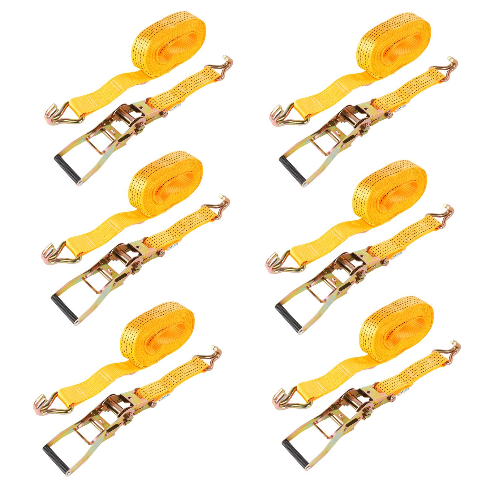 6x Spanngurt mit Ratsche Doppelhaken 8 Meter 5000Kg 50mm Breite PES Orange LKW