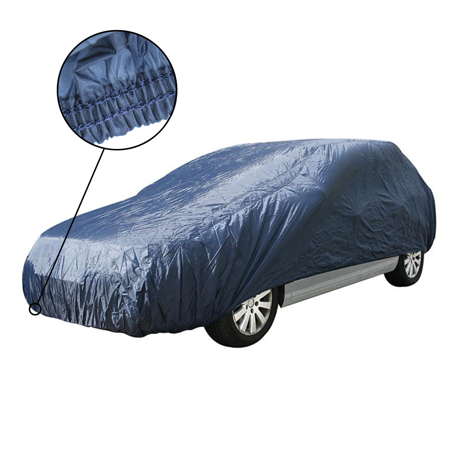 Auto Ganzgarage S für Kleinstwagen, 406x160x119 cm, blau mit Gummizug, Plane