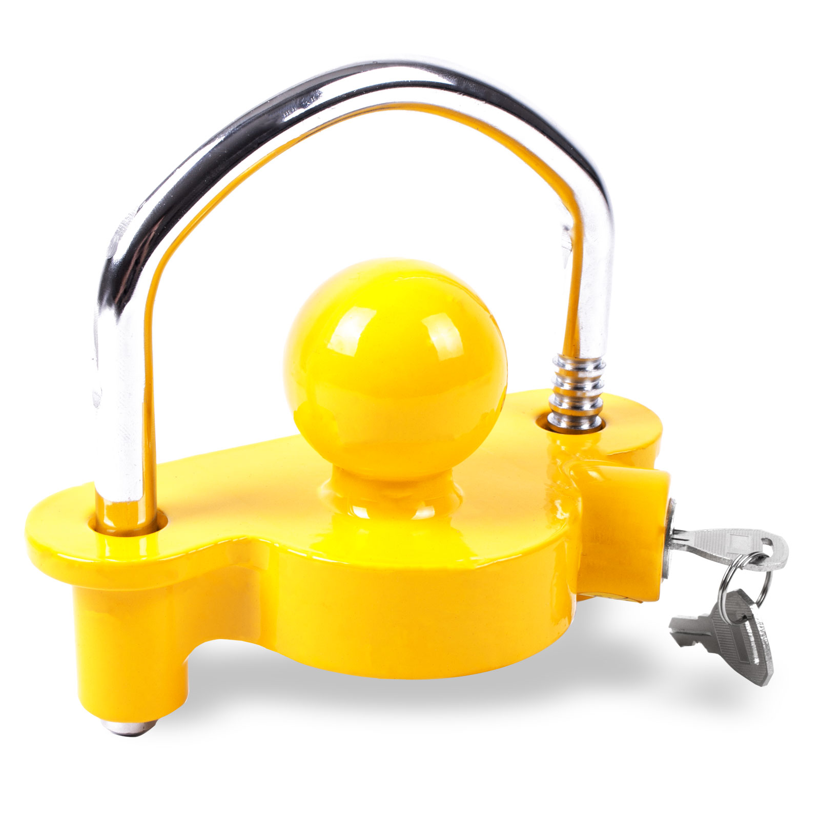 Anhängerkupplungsschloß mit Bügel, gelb, 50 mm