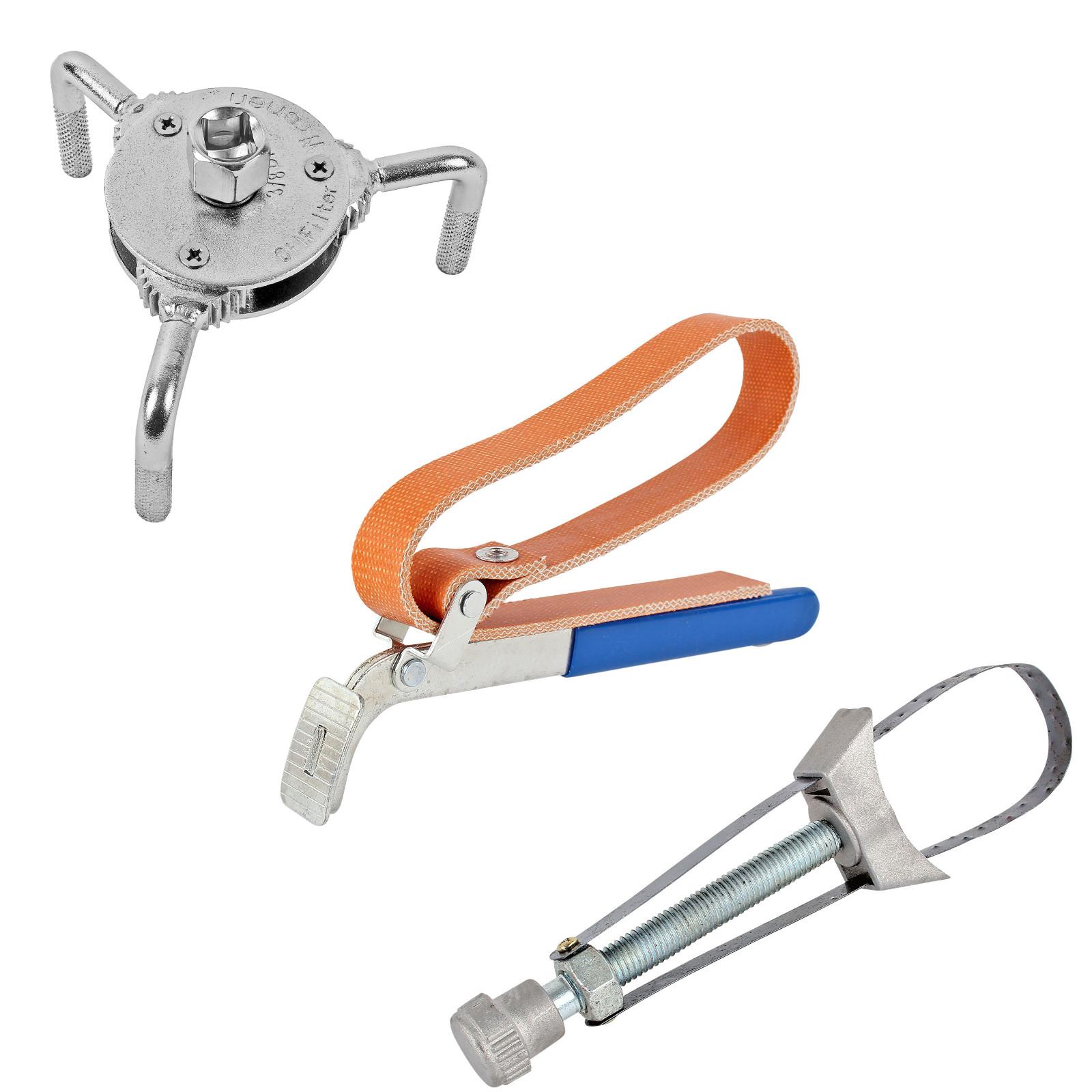 Ölfilterschlüssel 3 Versionen:  3 Armig (Spinne), Gewebeband, Metallband