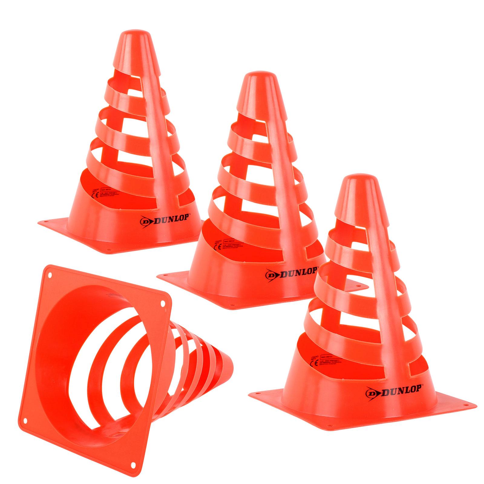 Dunlop Pylon 4 er Set 18 cm rot/orange zum absperren der Parzelle, Camping