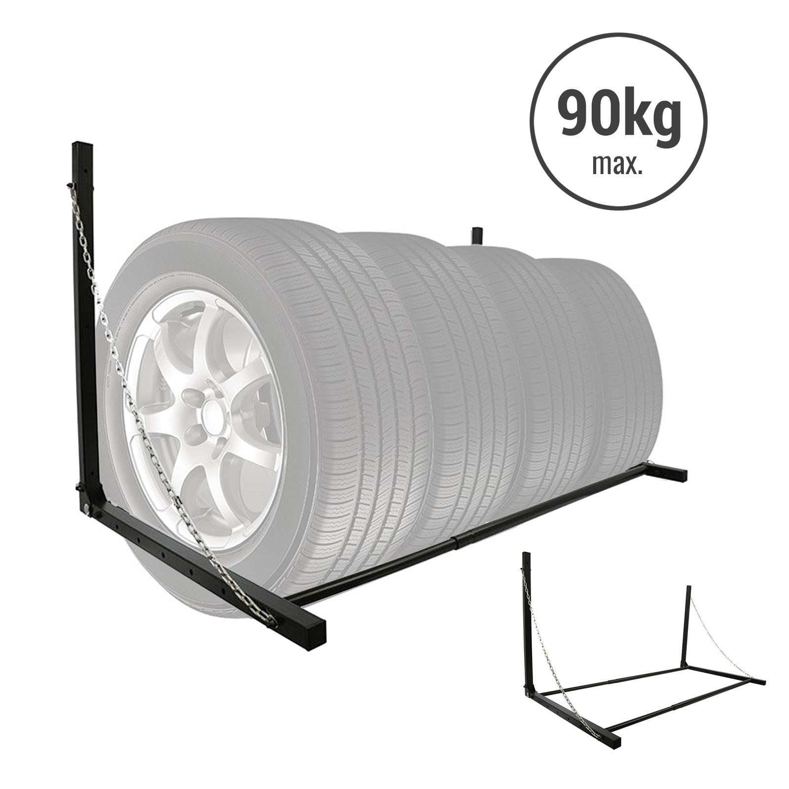 Reifen Wandhalter, schwarz pulverbeschichtet, Stahl, 90 - 130 cm