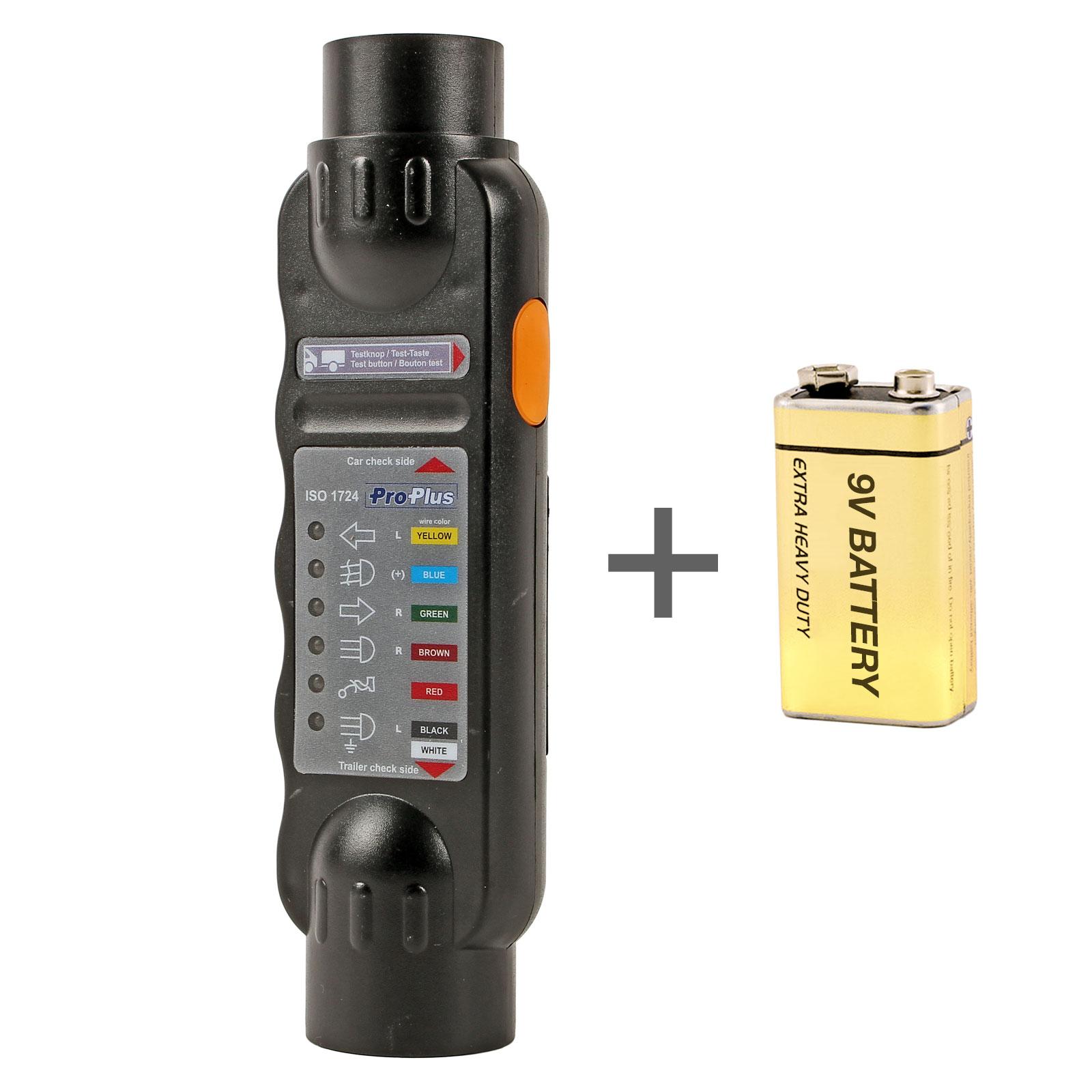 Anhänger Beleuchtungs Tester 7 Polig 12 Volt inkl 9V Batterie