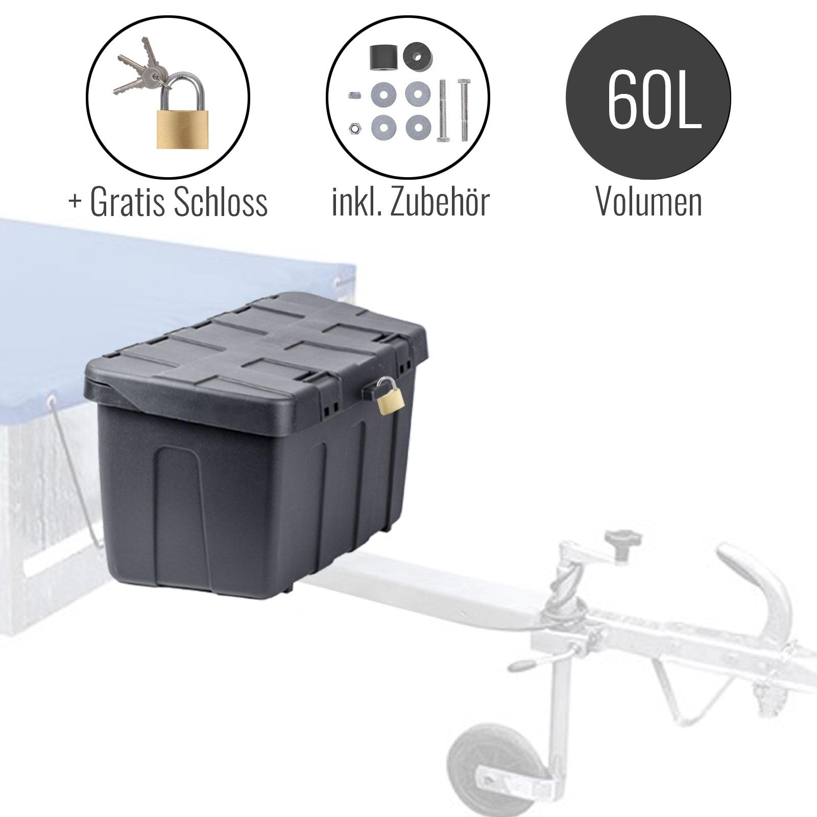 Aufbewahrungsbox Deichsel Kunststoff 32 x 63 x H35,5 cm + Montageset