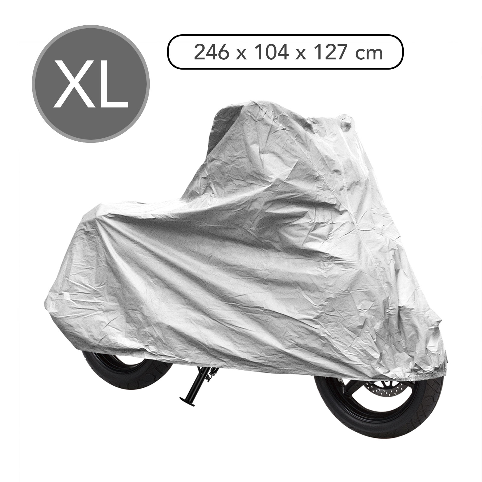 Motorrad & Roller Abdeckplane XL grau 246x104x127 cm Pva doppelt abgenäht 🏍️
