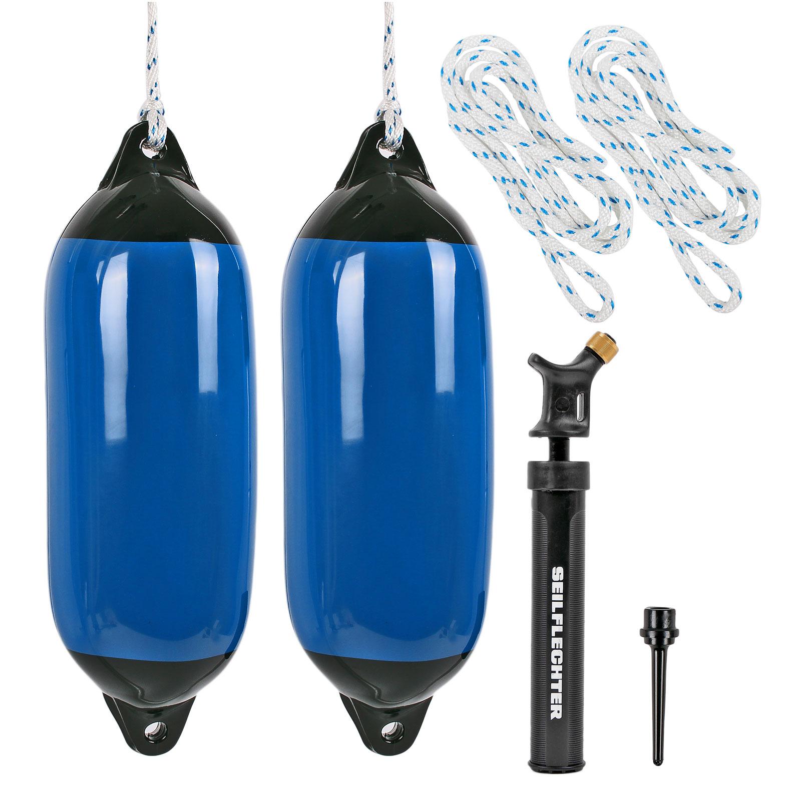 2x Fender blau klein mit Pumpe und 2x Fenderleine