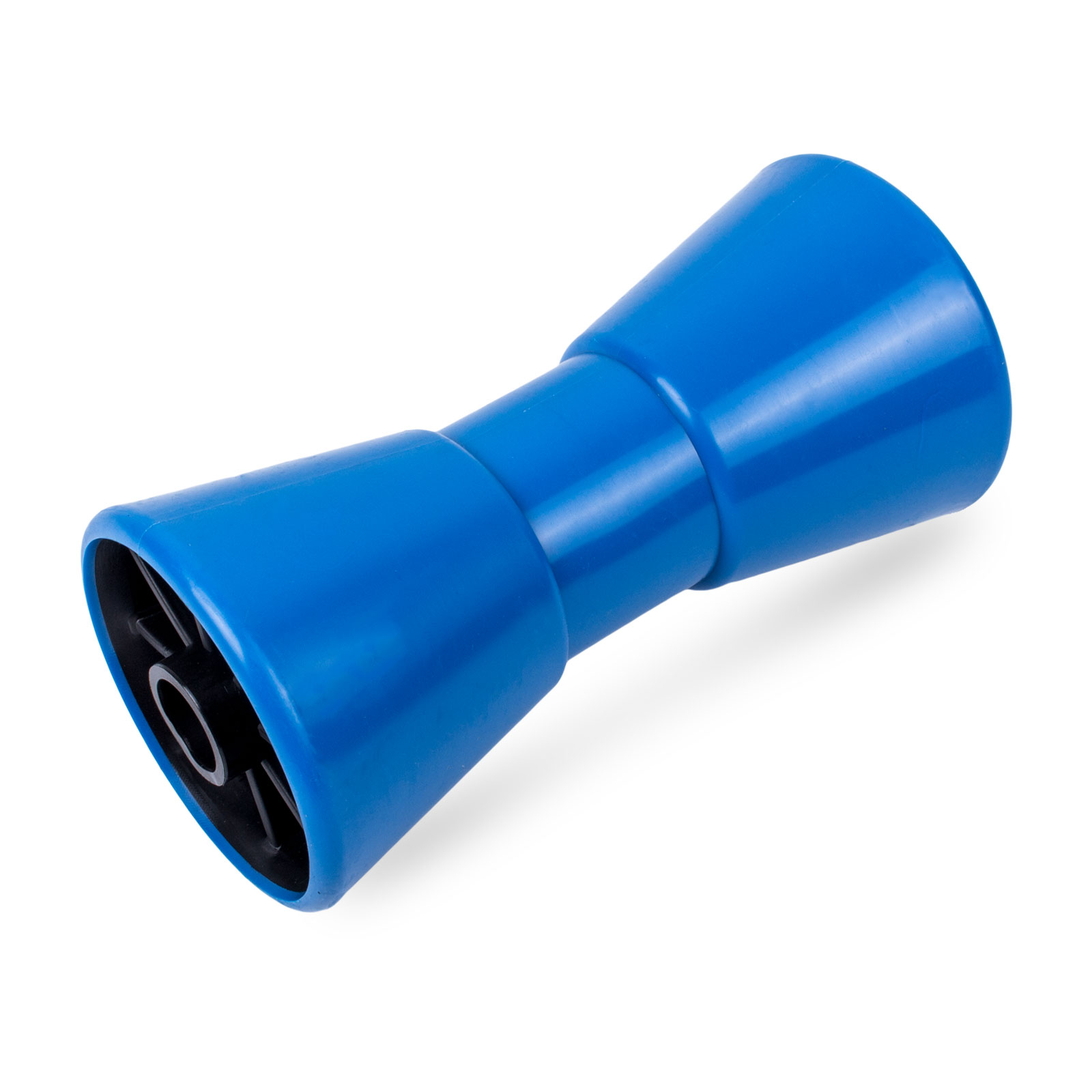 Kielrolle PE, 200mm, 22mm Bohrung, Keilform für Bootstrailer, blau