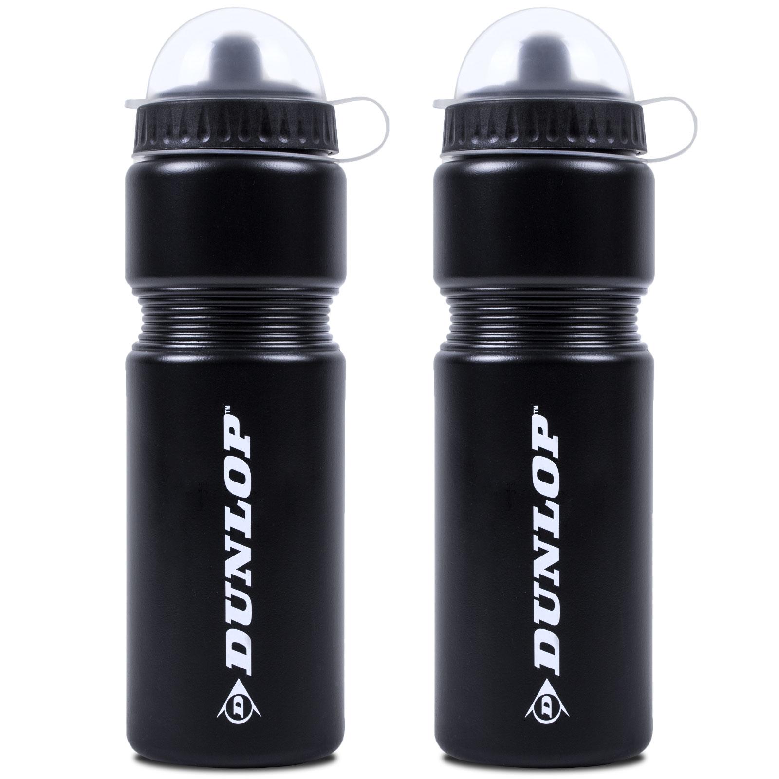 2x Dunlop Trinkflasche 750 ml Kunststoff schwarz mit Flaschenhalter