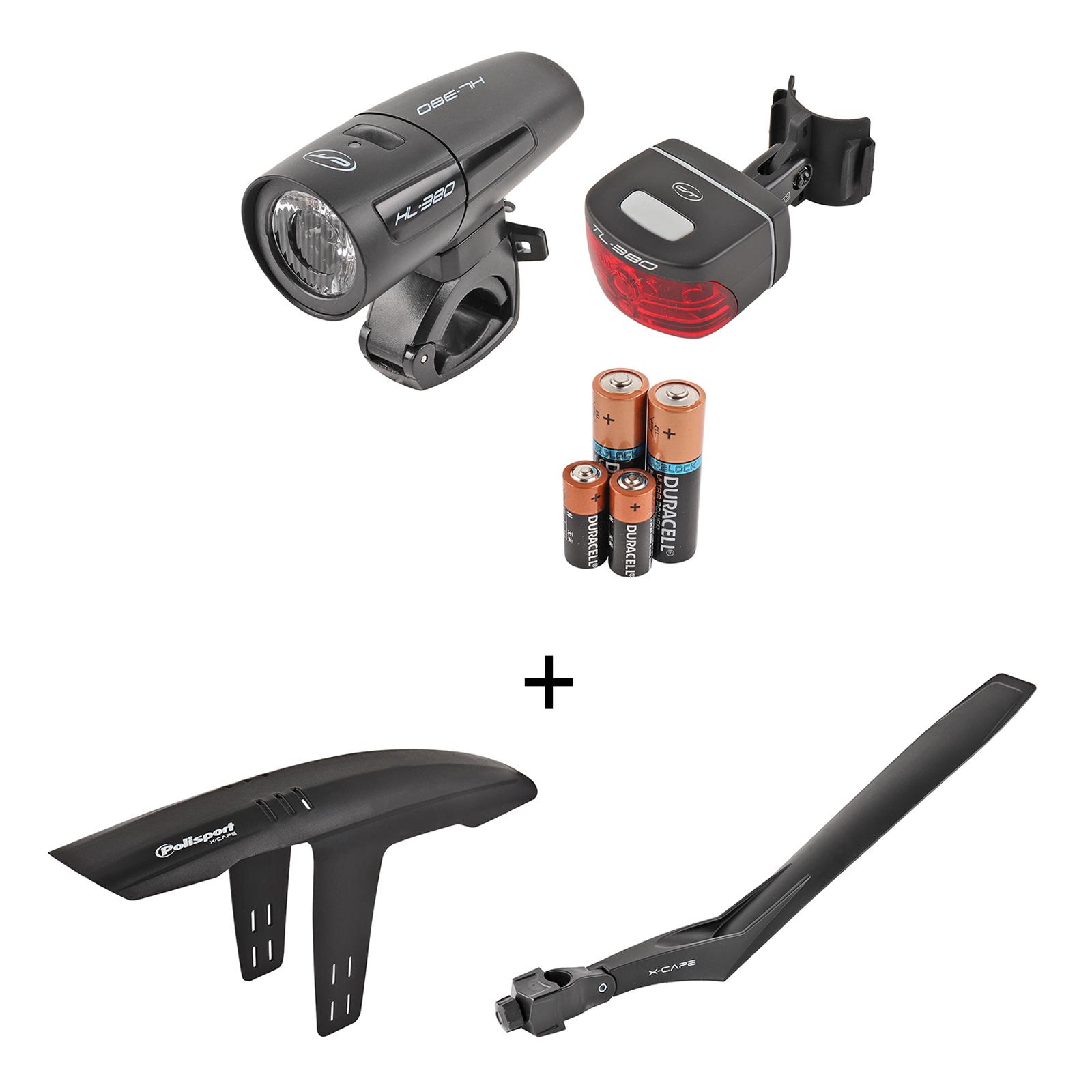Led Fahrradleuchten-Set CONTEC LS-380 StVZO geprüft inkl. Schutzblech