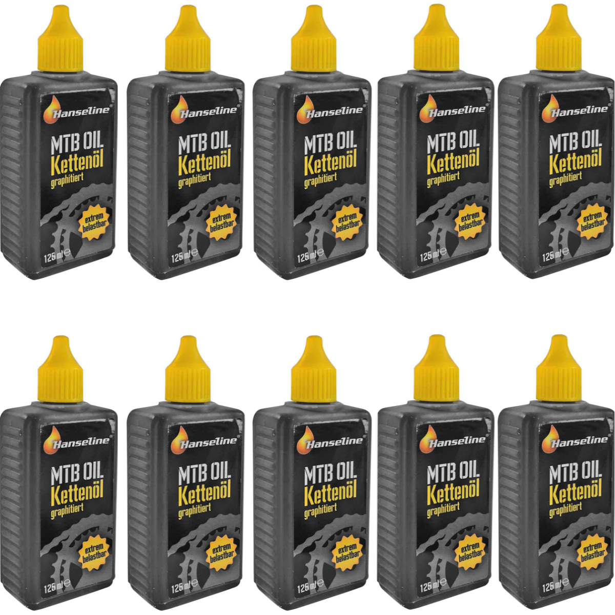 10x Hanseline® Kettenöl Fahrrad 125 ml graphitiert extrem belastbar Graphitöl