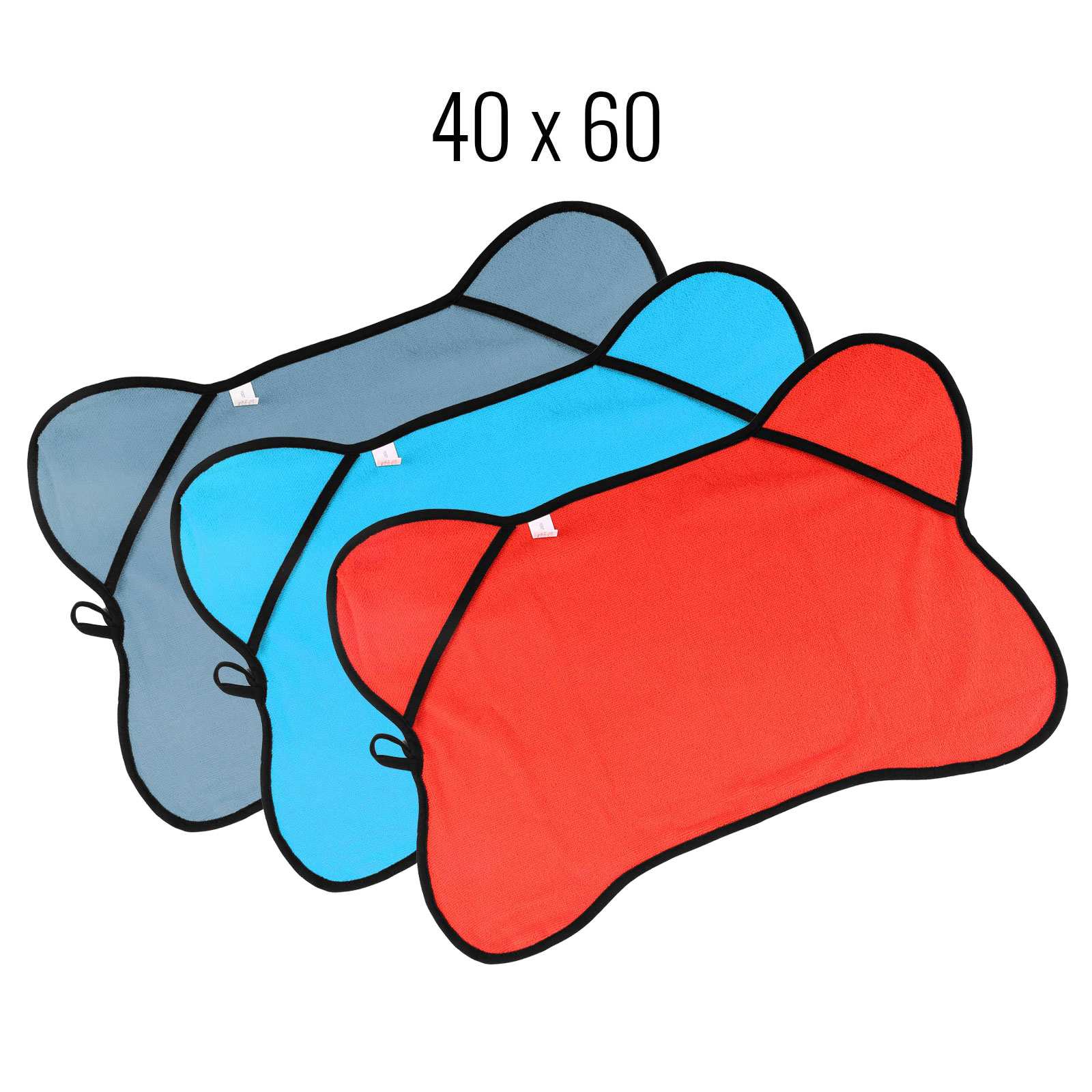 Haustierhandtuch 40x60 cm rot, blau, blau/grau 3er Set